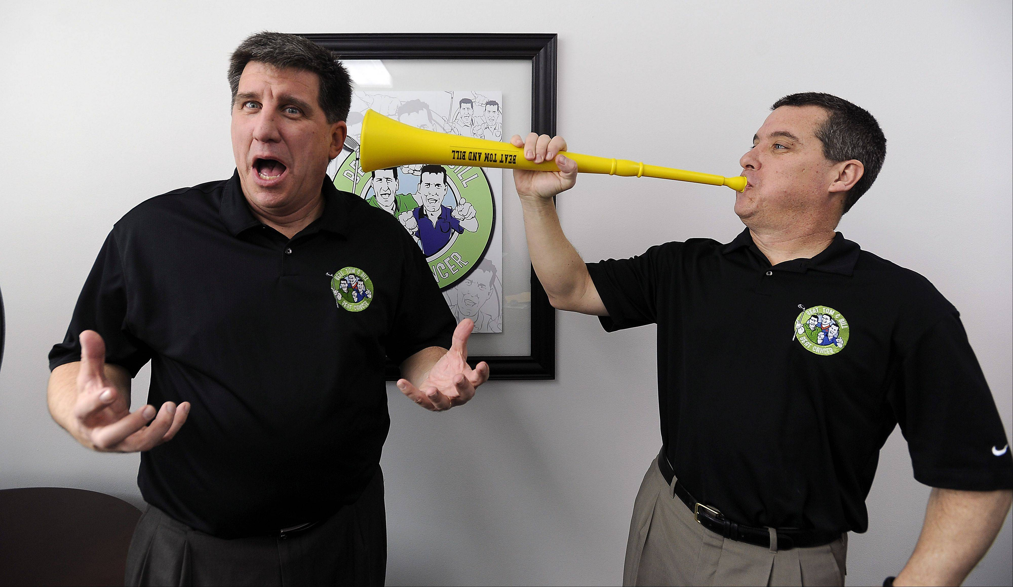 Nothing like a blast from a vuvuzela to get attention for the Beat Tom & Bill Foundation's annual golf outing and charity event. Brothers Tom, left, and Bill Latourette orchestrate a wild and wacky outing that since 2002 has distributed almost $400,000 to local people affected by cancer.