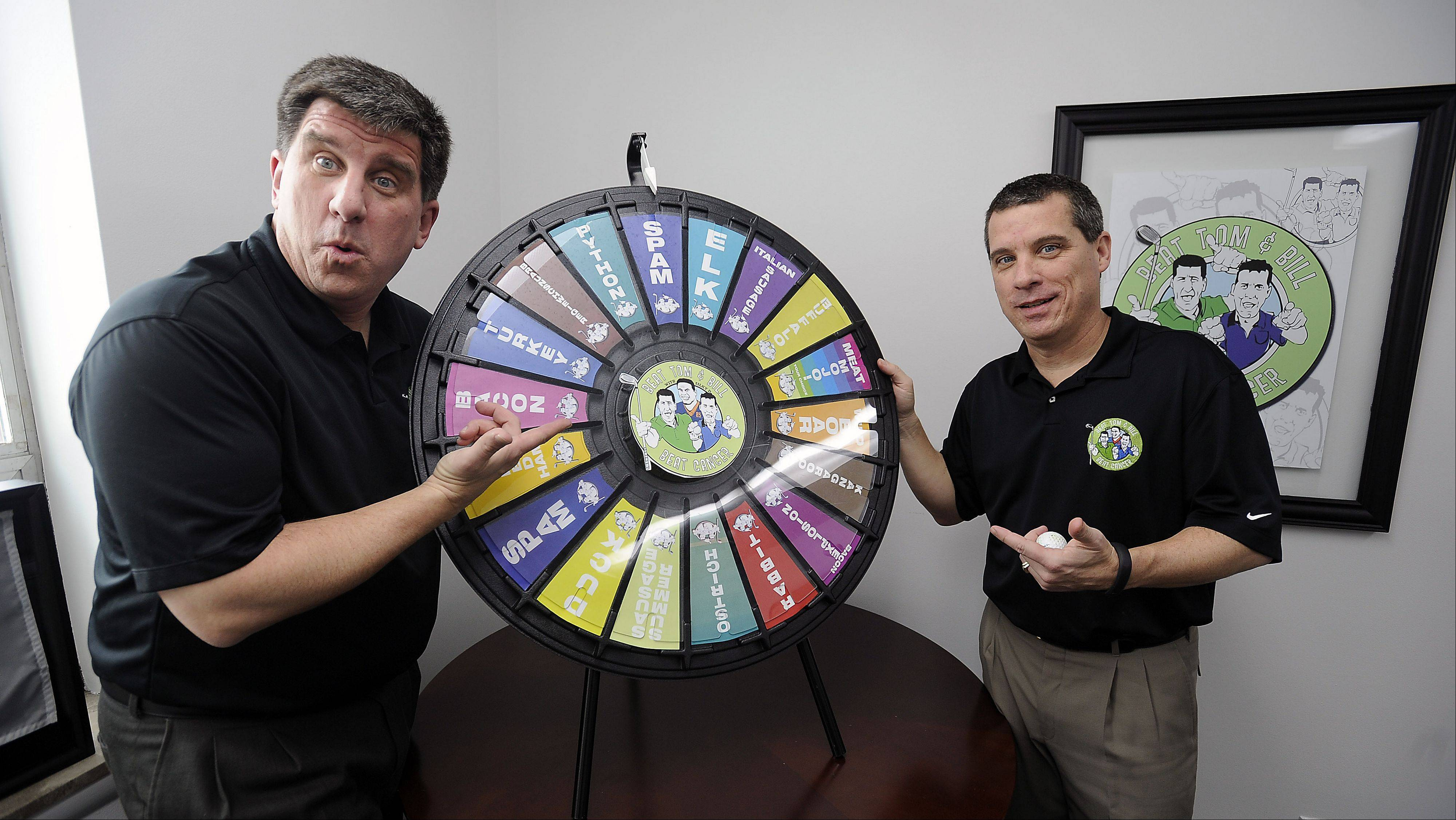 "One of the most popular events at the annual Beat Tom & Bill charity fundraiser is the Wheel of Meat. Winners could take home everything from 5 pounds of python meat to a ""Summer of Spam."" Brothers Tom, left, and Bill Latourette founded the charity in 2002 to help local people struggling with cancer."