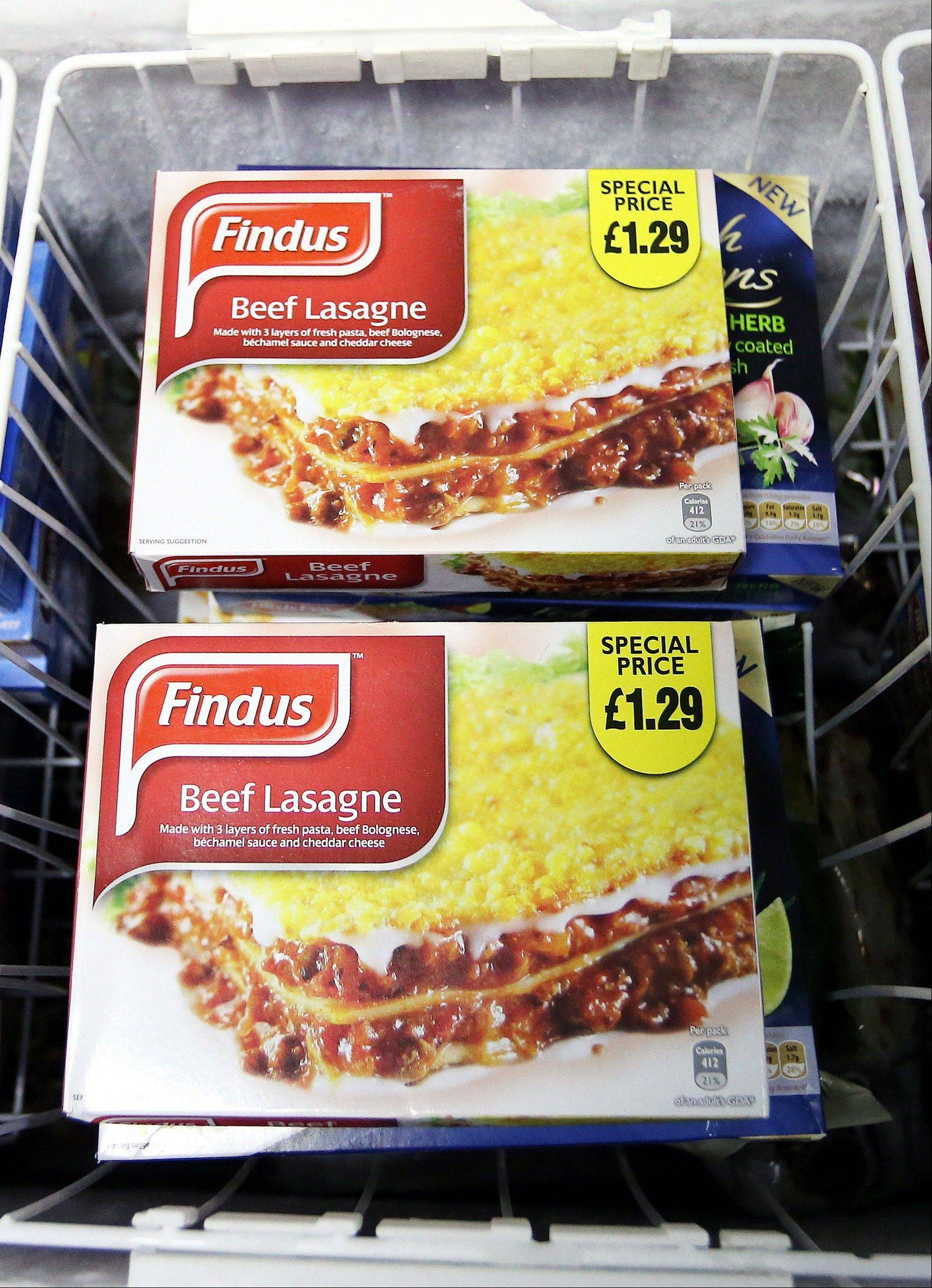 "Findus Beef Lasagne photographed in a shop in Jarrow, England. Frozen-food company Findus recalled the beef lasagna meals earlier this week after French supplier Comigel raised concerns that the products didn't ""conform to specification."" The U.K. Food Standards Agency said the lasagnas were tested as part of an ongoing investigation into mislabeled meat."