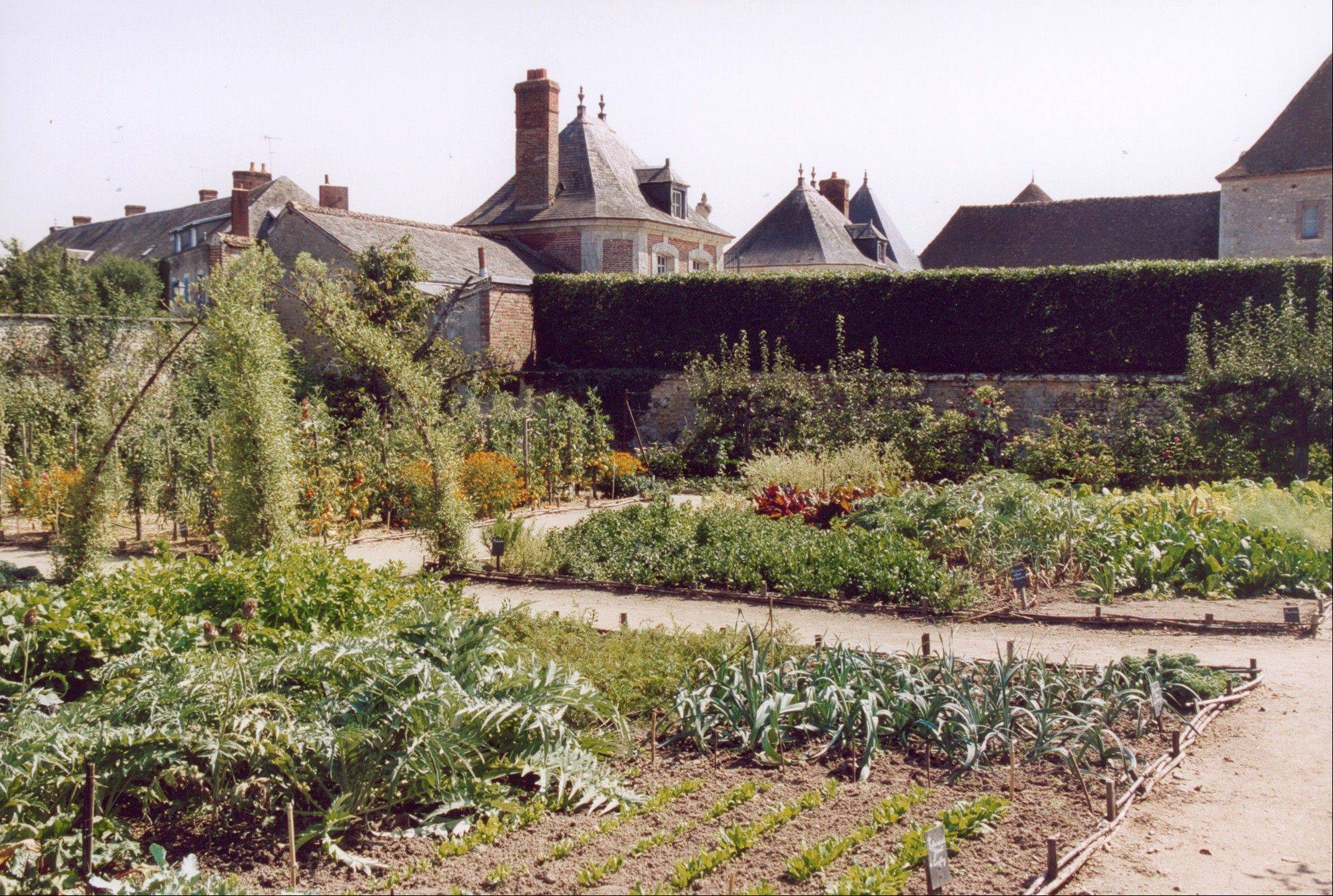 This is a traditional French four-square potager with fruit trees within a walled compound.