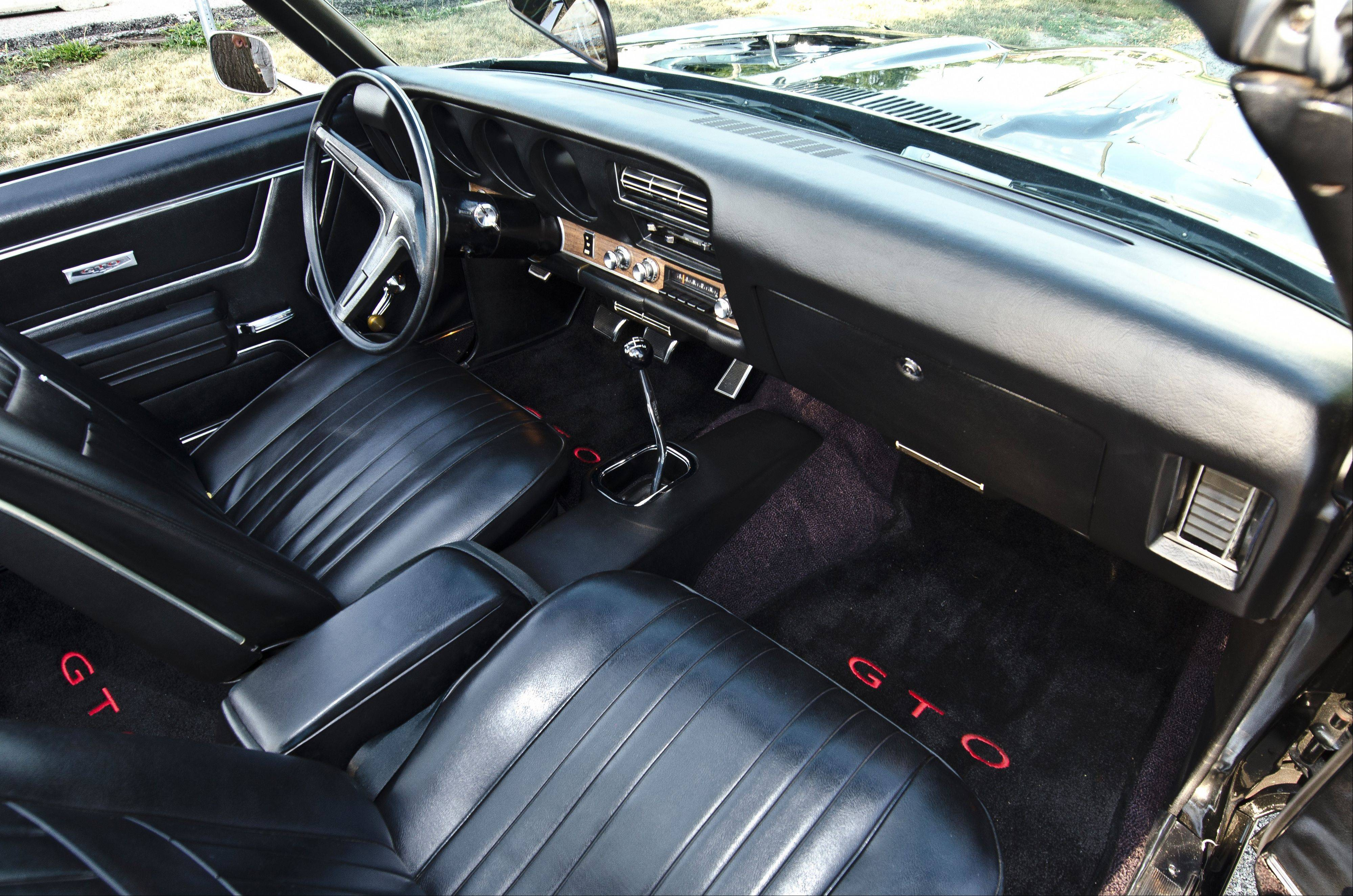 The interior of Bertram's GTO is in pristine condition.