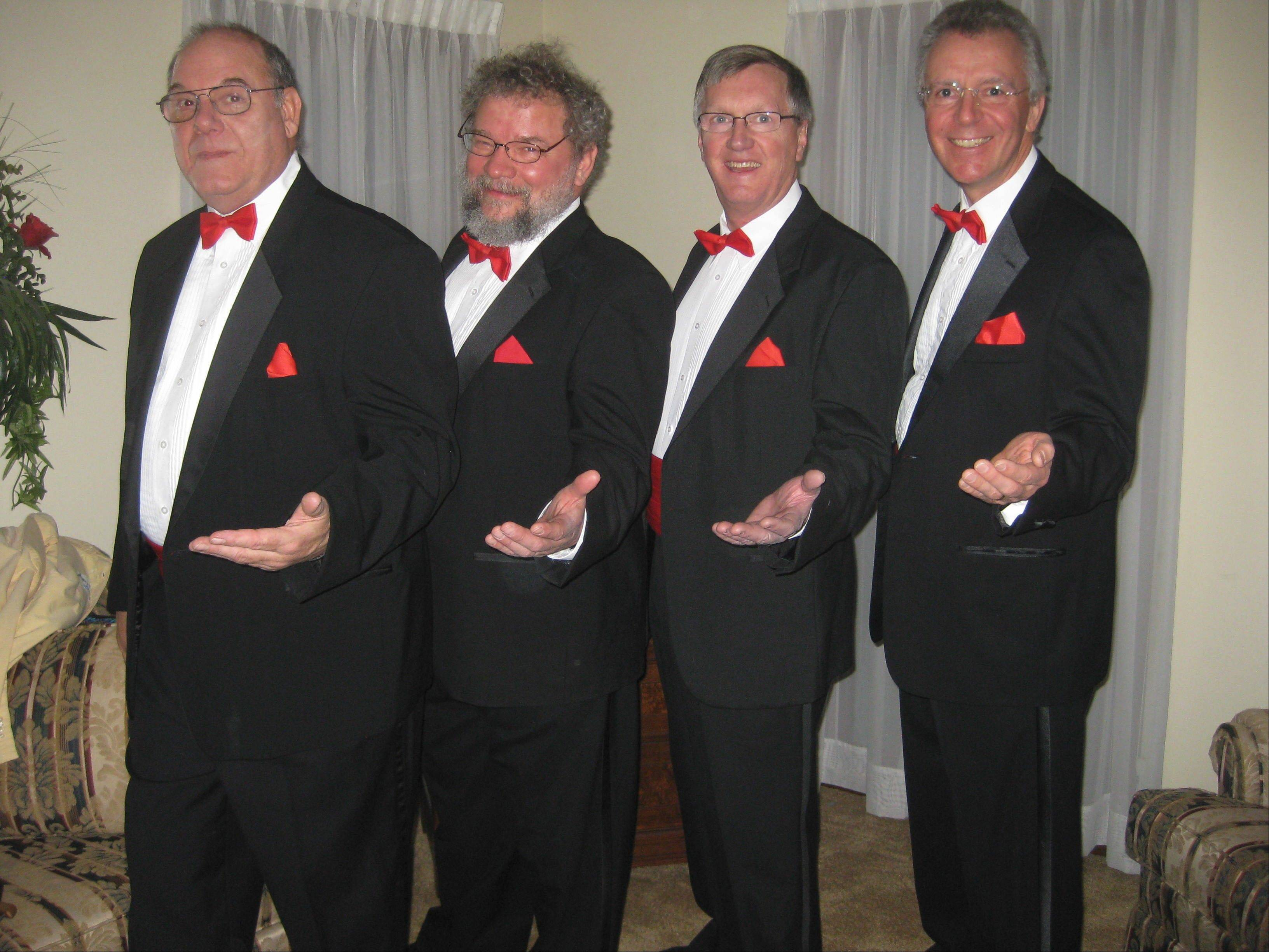 The Upside Downers Quartet is one of several barbershop groups with members of the Chorus of DuPage that will deliver singing Valentines. John Oberlin (baritone), from left, Mark Johnson (bass), Jim Morrison (lead) and Bruce Rhoades (tenor) will knock on doors or sing in workplaces in tuxes with red bow ties.