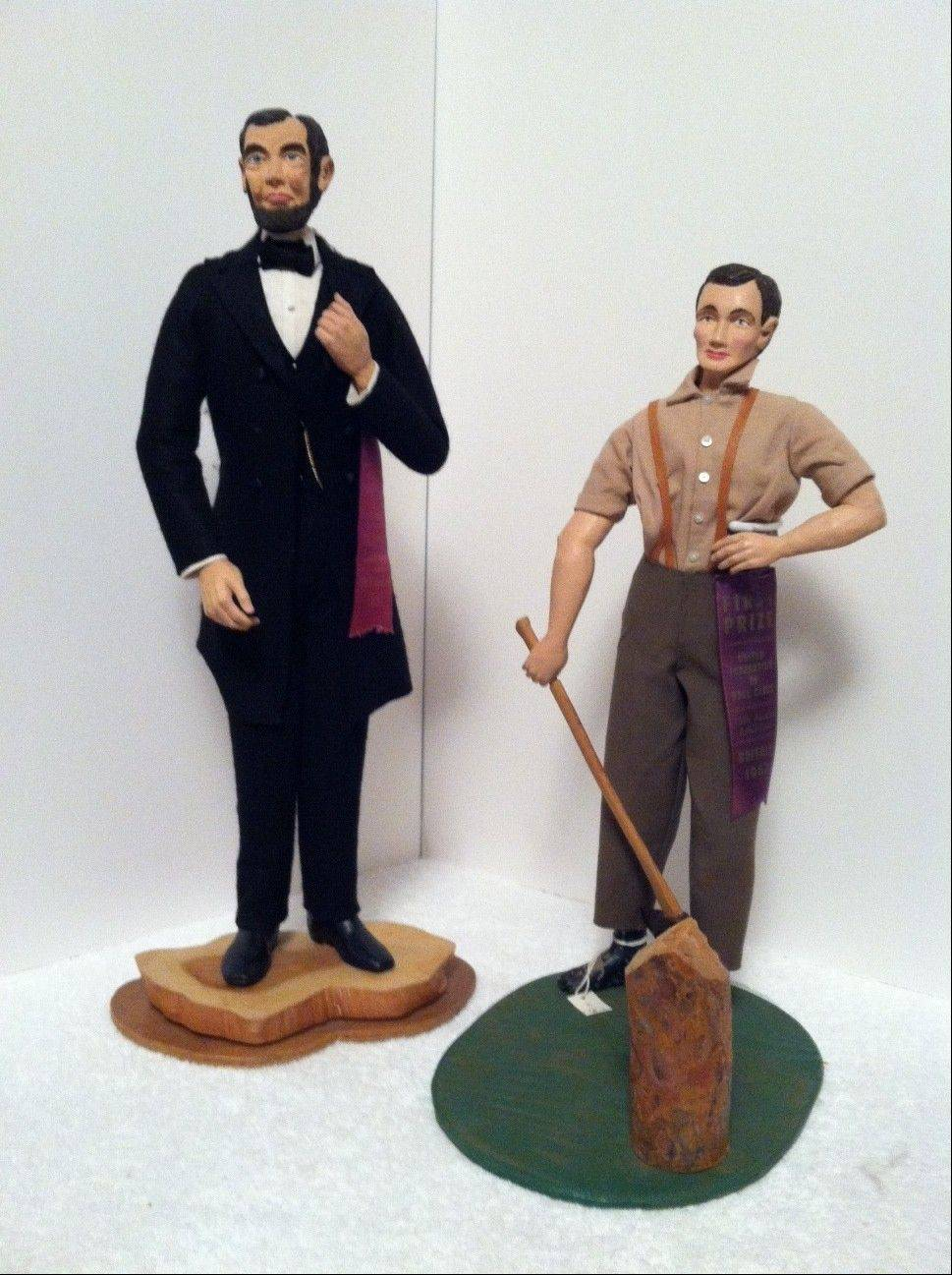 Martha Mills made these dolls of President Abraham Lincoln, 1957, and Young Abraham Lincoln, 1962. Both were awarded first prize ribbons by the United Federation of Doll Clubs.
