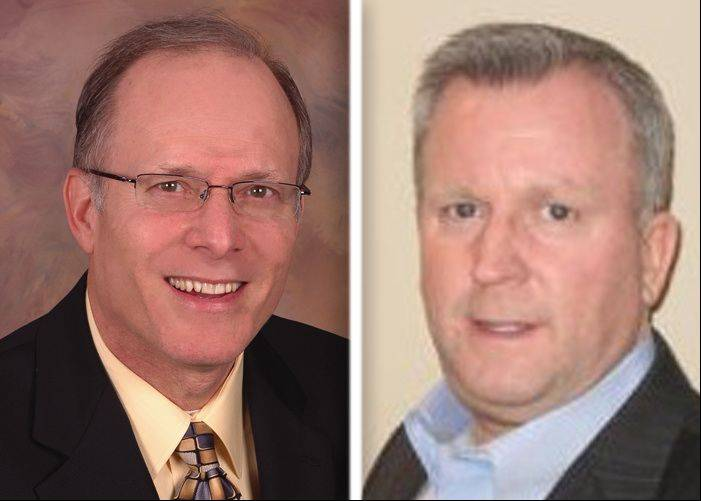 Bruce Kaplan, left, and Mark Kownick are candidates in the race for Cary village president.