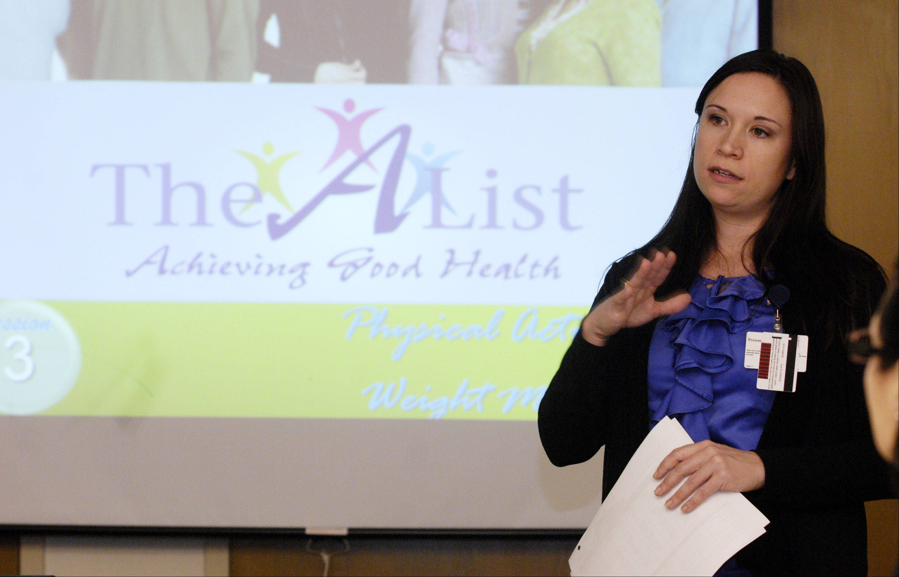 Educator Rita Famera teaches during the A-List diabetes prevention program run by the Center for Diabetic Wellness at Provena Mercy Medical Center in Aurora.