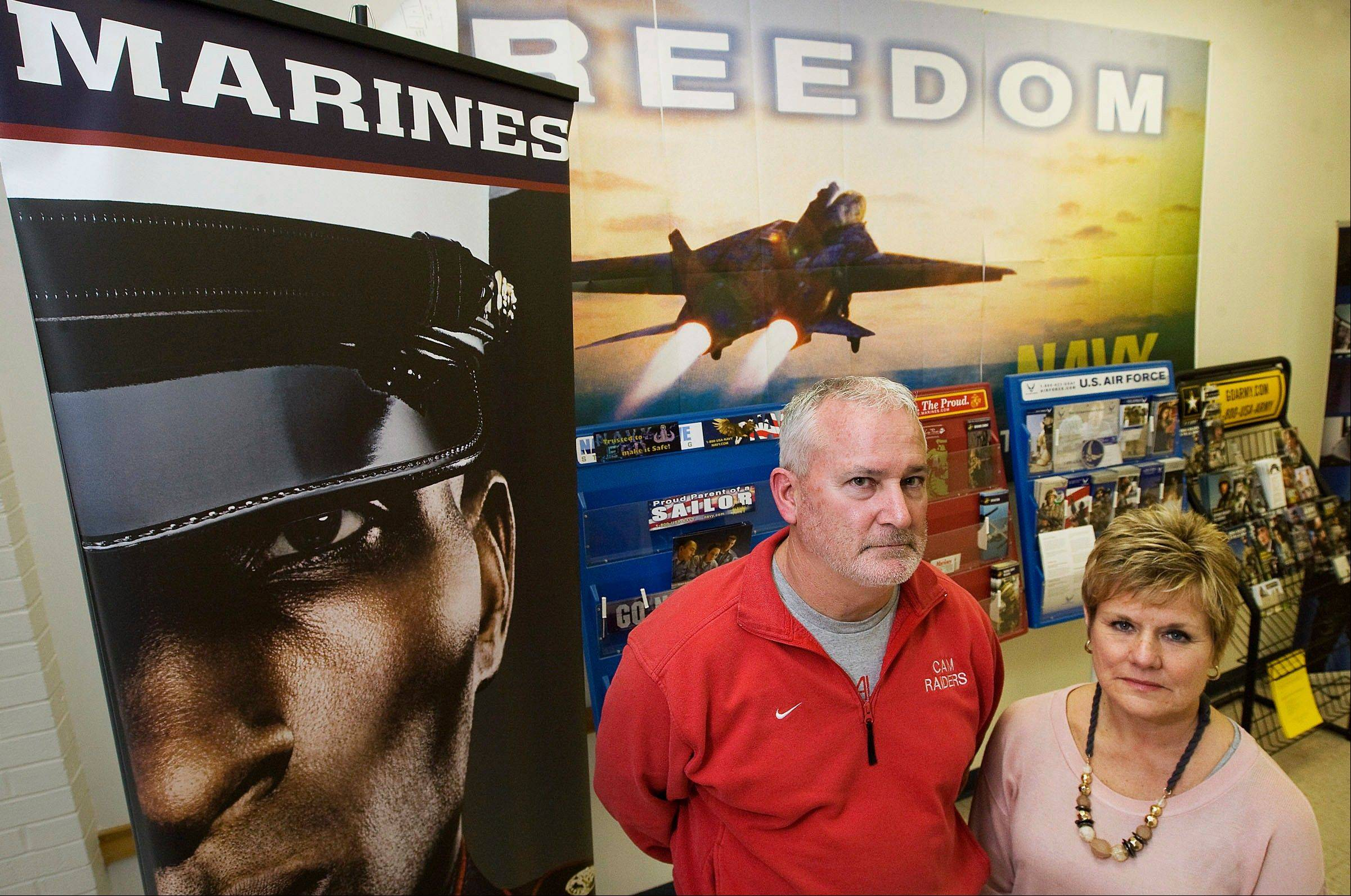 Mike Conlin and his wife, Shawn Conlin, of Moweaqua in Decatur. The couple are heading to boot camp for a week to get a taste of what it�s like to be Marines at the Marine Corps Recruit Depot in San Diego.