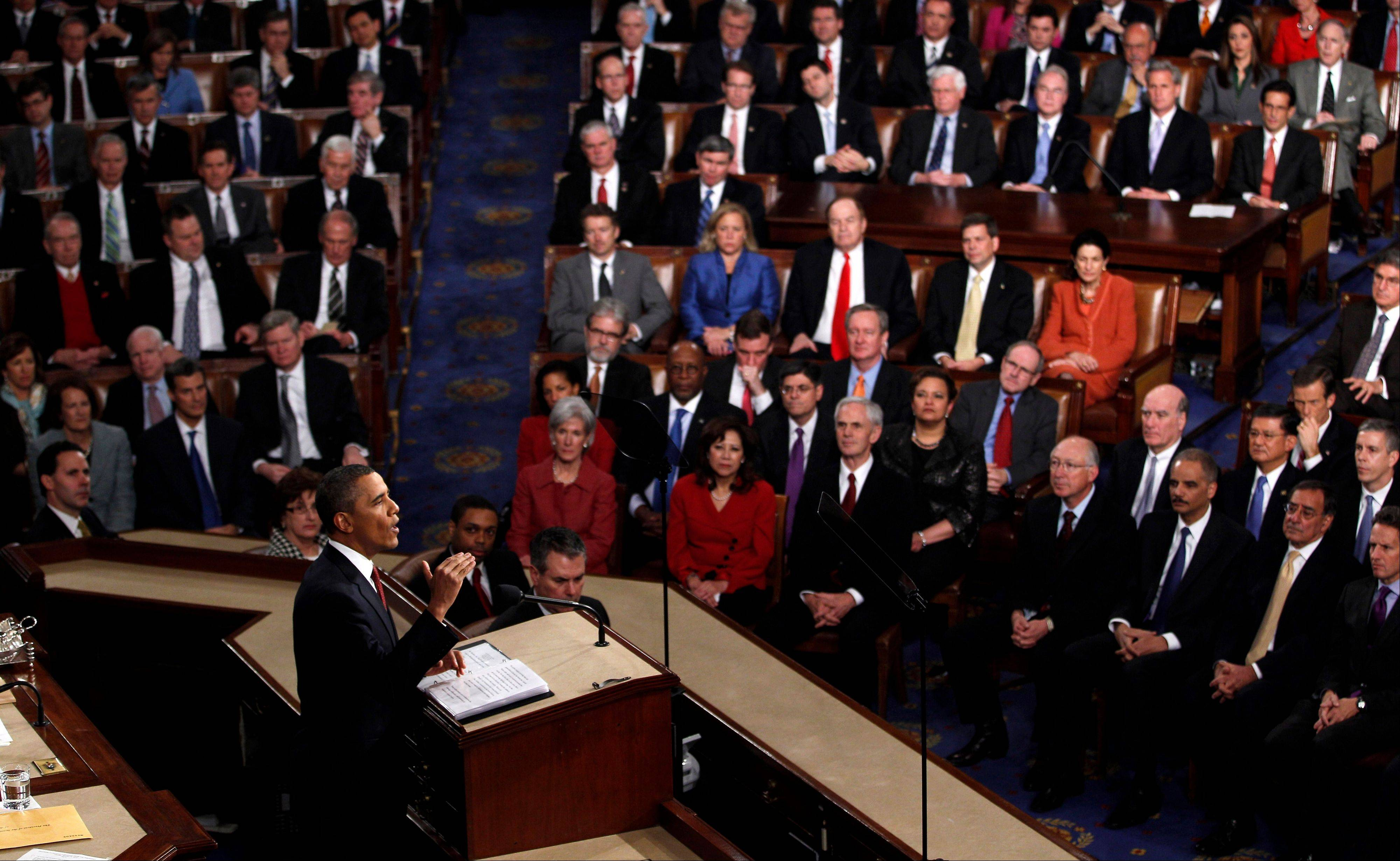 In this Jan. 24, 2012 photo, President Barack Obama delivers his State of the Union address on Capitol Hill in Washington.