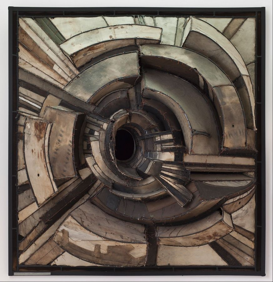 "Lee Bontecou's 1962 Untitled work is on loan as part of the Museum of Contemporary Art's exhibit ""Destroy the Picture: Painting the Void, 1949-1962."""