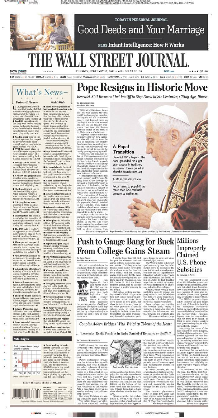 Pope Benedict XVI shocked the Catholic Church by resigning Monday. Here are newspaper pages from around the world.
