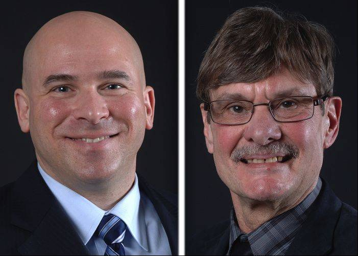 Frank Bart, left, and Mark Knigge are running for mayor in Wauconda.