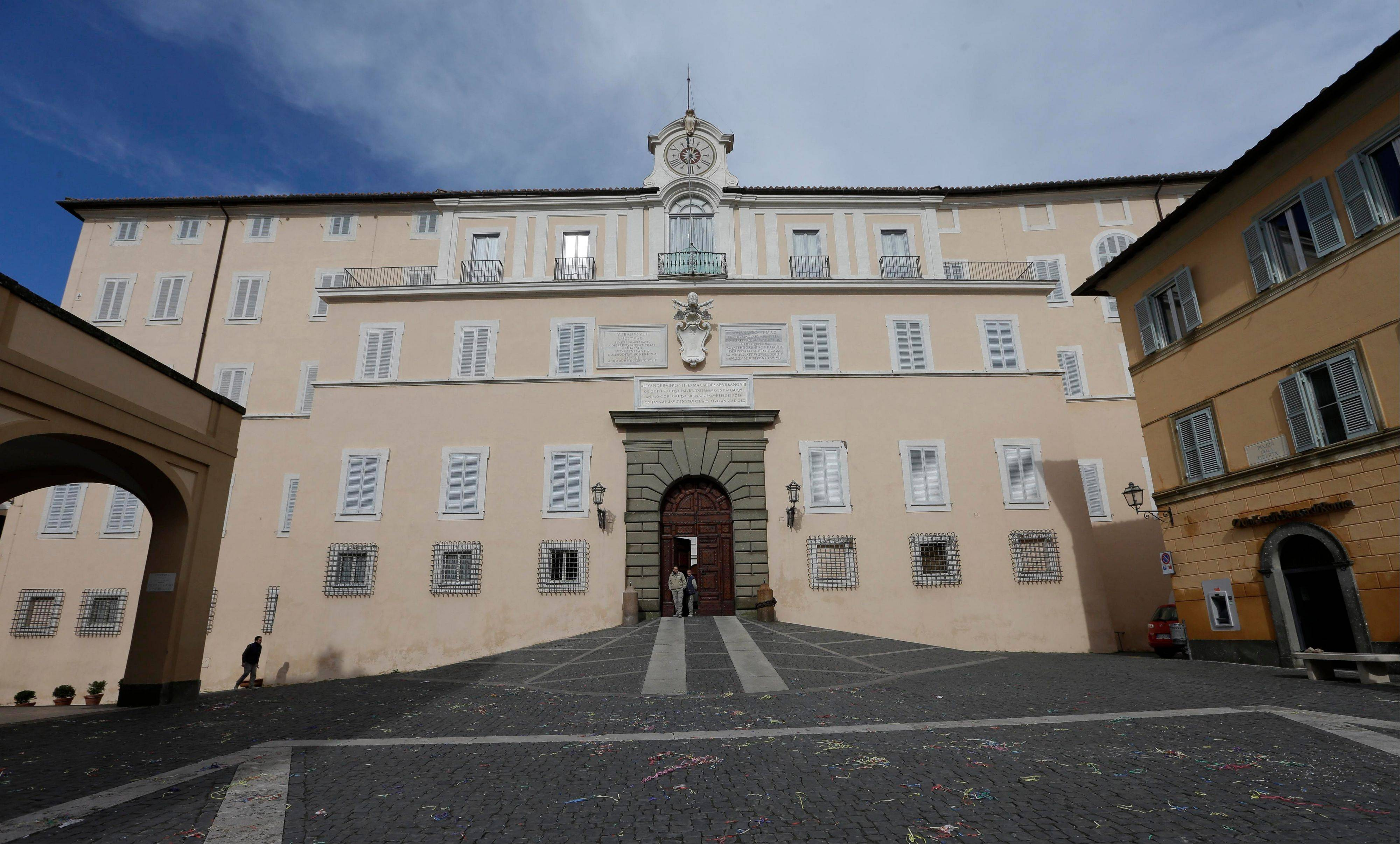 A view of the pope's summer residence of Castel Gandolfo, in the town of Castelgandolfo, south of Rome, Tuesday, Feb. 12, 2013. Immediately after his resignation on Feb. 28, 2013, Pope Benedict XVI will spend some time at the papal summer retreat in Castel Gandolfo, overlooking Lake Albano in the hills south of Rome where he has spent his summer vacations reading and writing.