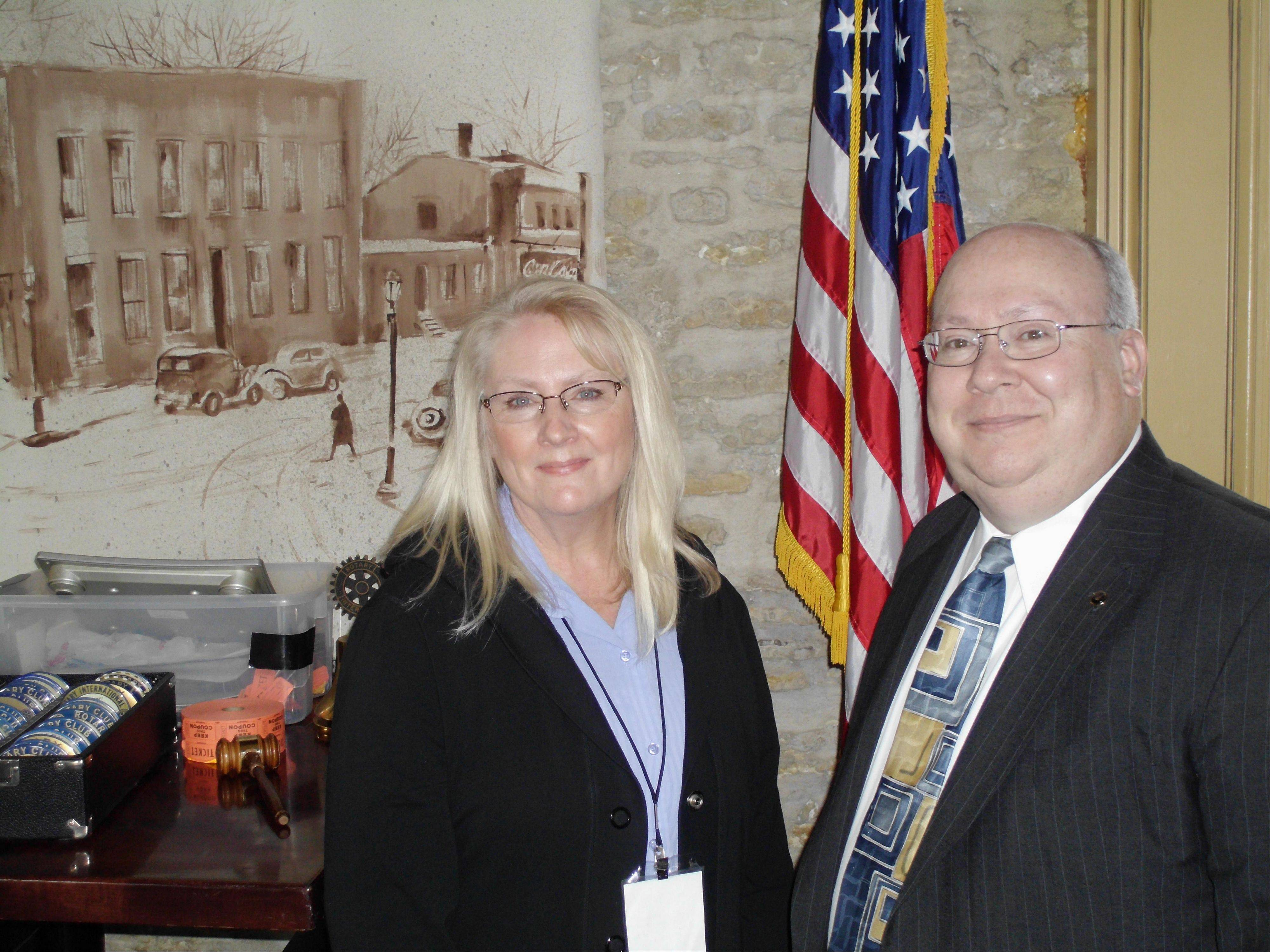 "DayOne Network's nurse consultant Sandy Hix and executive director Stephen Taylor recently updated the St. Charles Noon Rotary Club on its mission: ""finding a way for people with disabilities."""