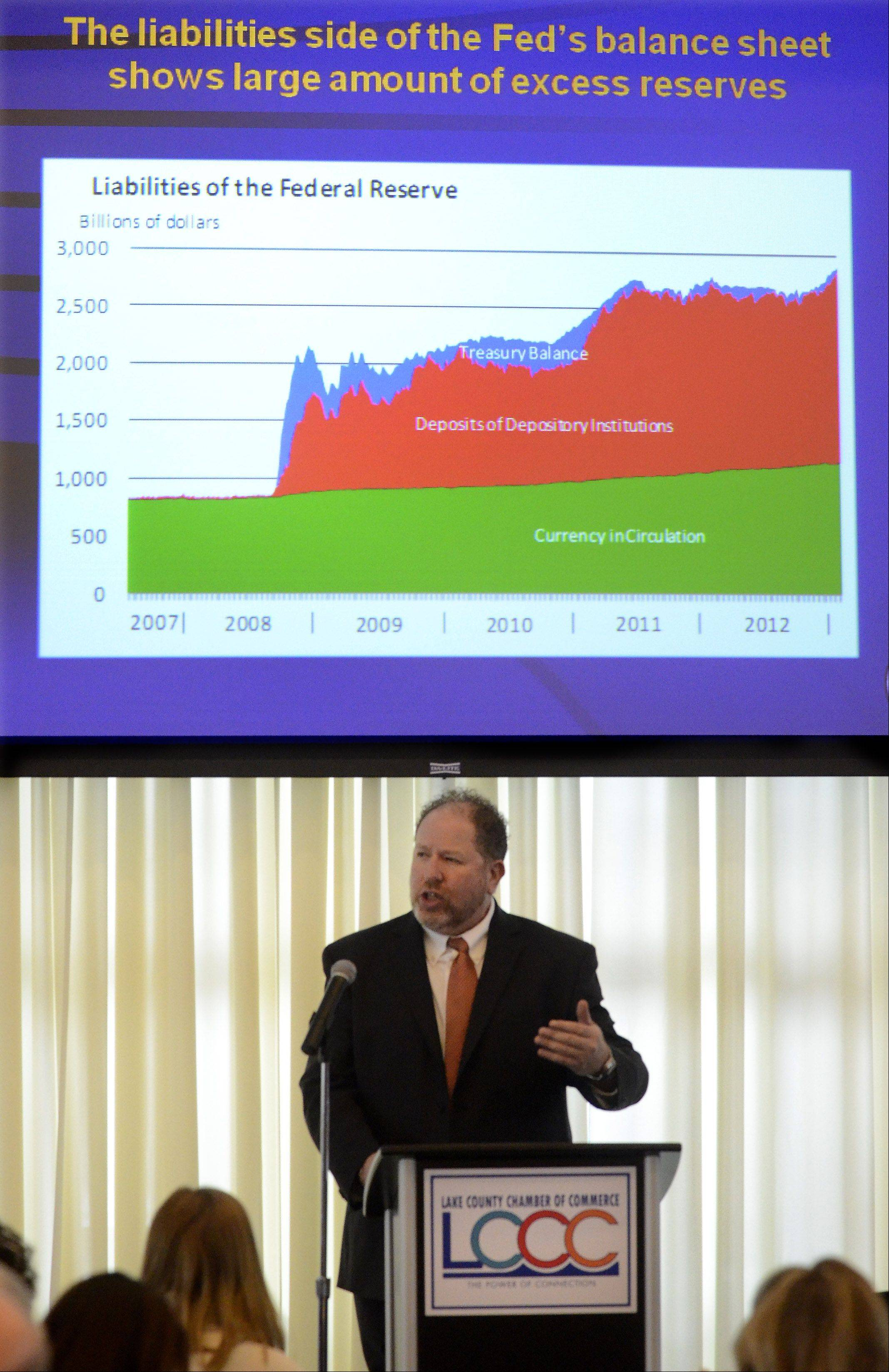 Keynote Speaker William Strauss, senior economist and economic adviser with the Federal Reserve Bank of Chicago, gave the economic forecast for 2013 to the 6th Annual Forecast Lake County Luncheon.