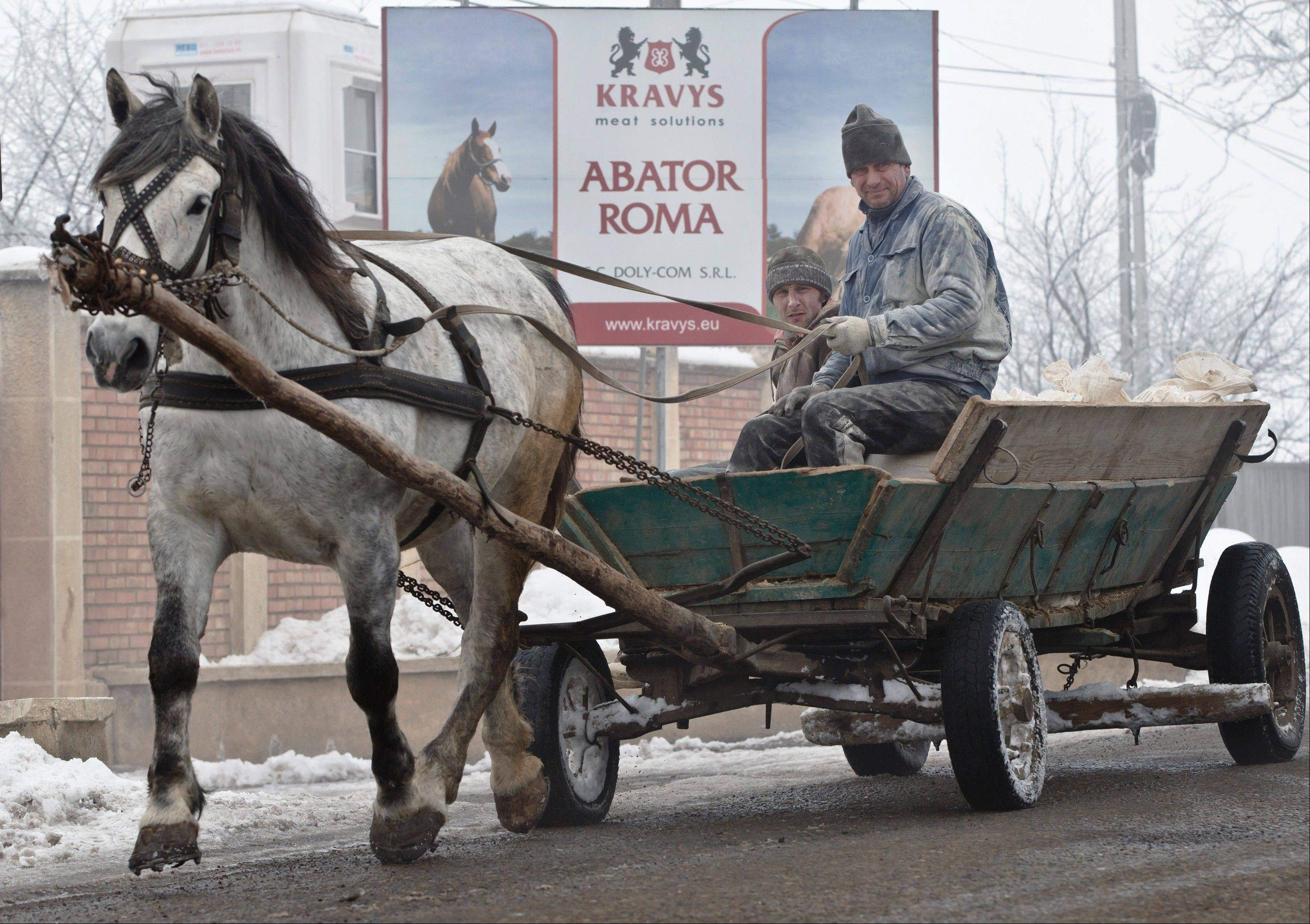 Two men ride in a cart passing by the entrance of the Doly-Com abattoir, one of the two units checked by Romanian authorities in the horse meat scandal, in the village of Roma, northern Romania, Tuesday.
