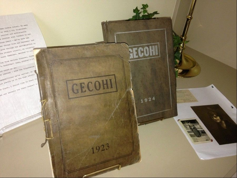 "Memorabilia was displayed at Tuesday's ""Memories of Coultrap"" talk at the Geneva History Center, including yearbooks. ""Gecohi"" stood for Geneva Community High School."