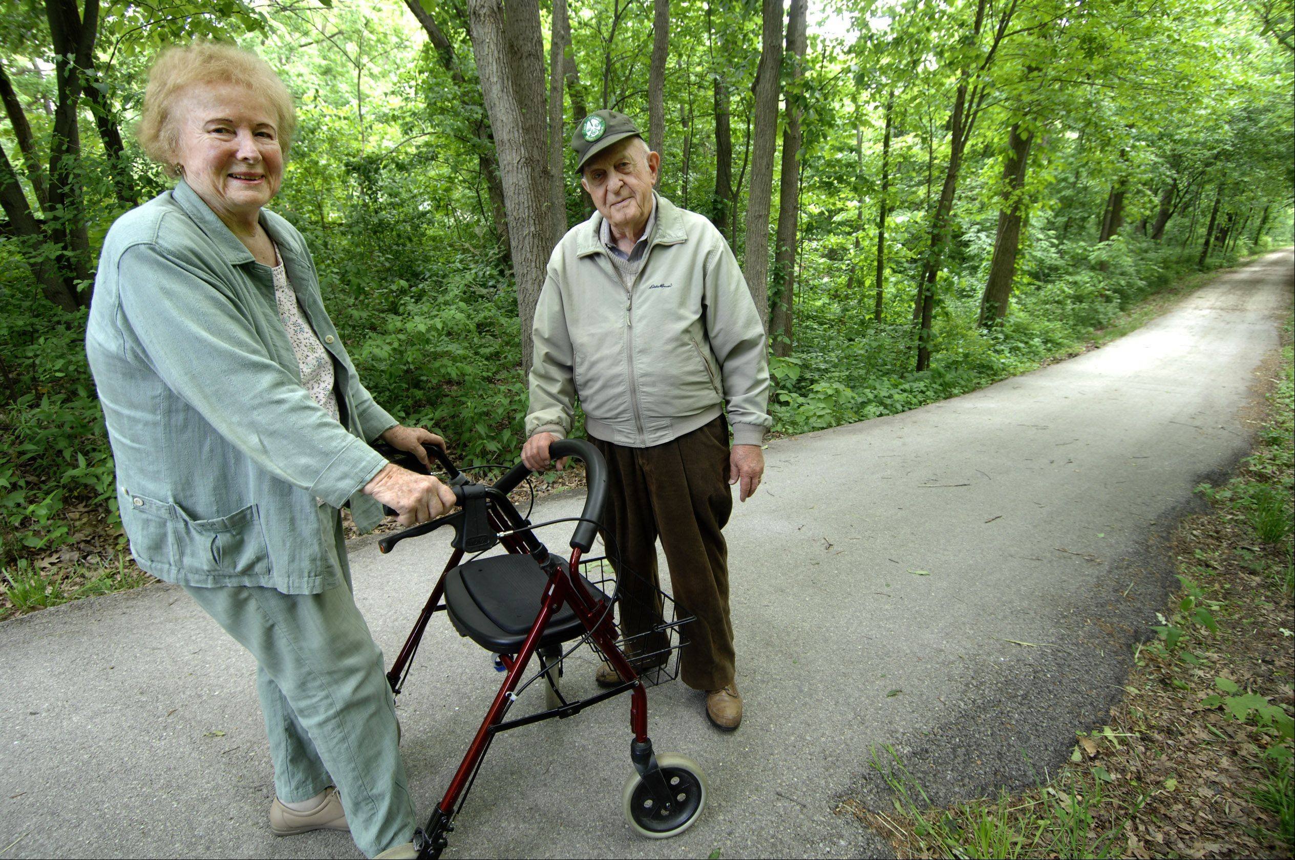 Jean Mooring and her husband, Paul ,were among the first advocates of the Illinois Prairie Path in the 1960s. Since that time, they worked to maintain a section of the path near their home in Glen Ellyn.