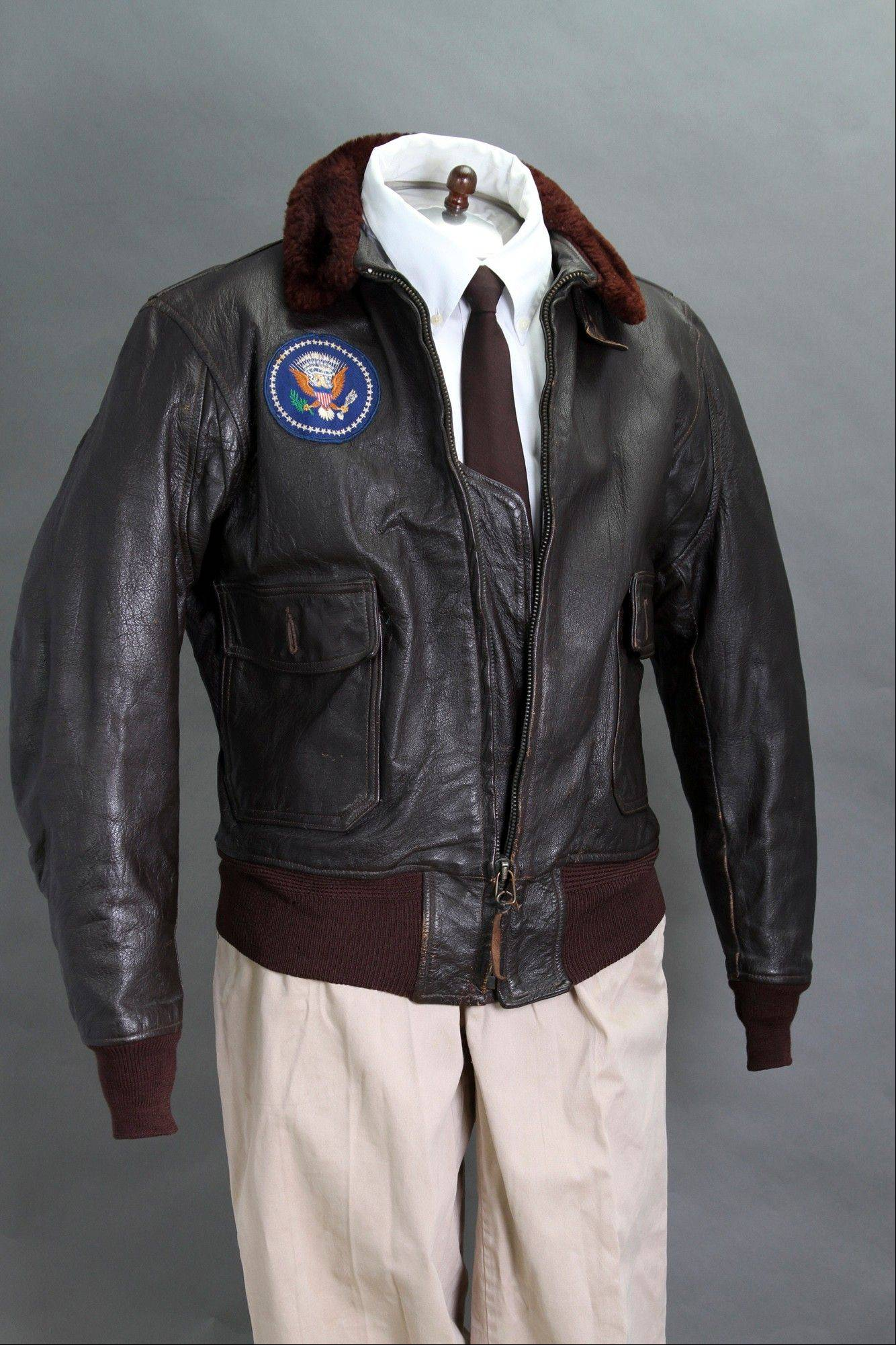 President John F. Kennedy�s Air Force One leather bomber jacket, which is among items to be auctioned Sunday.