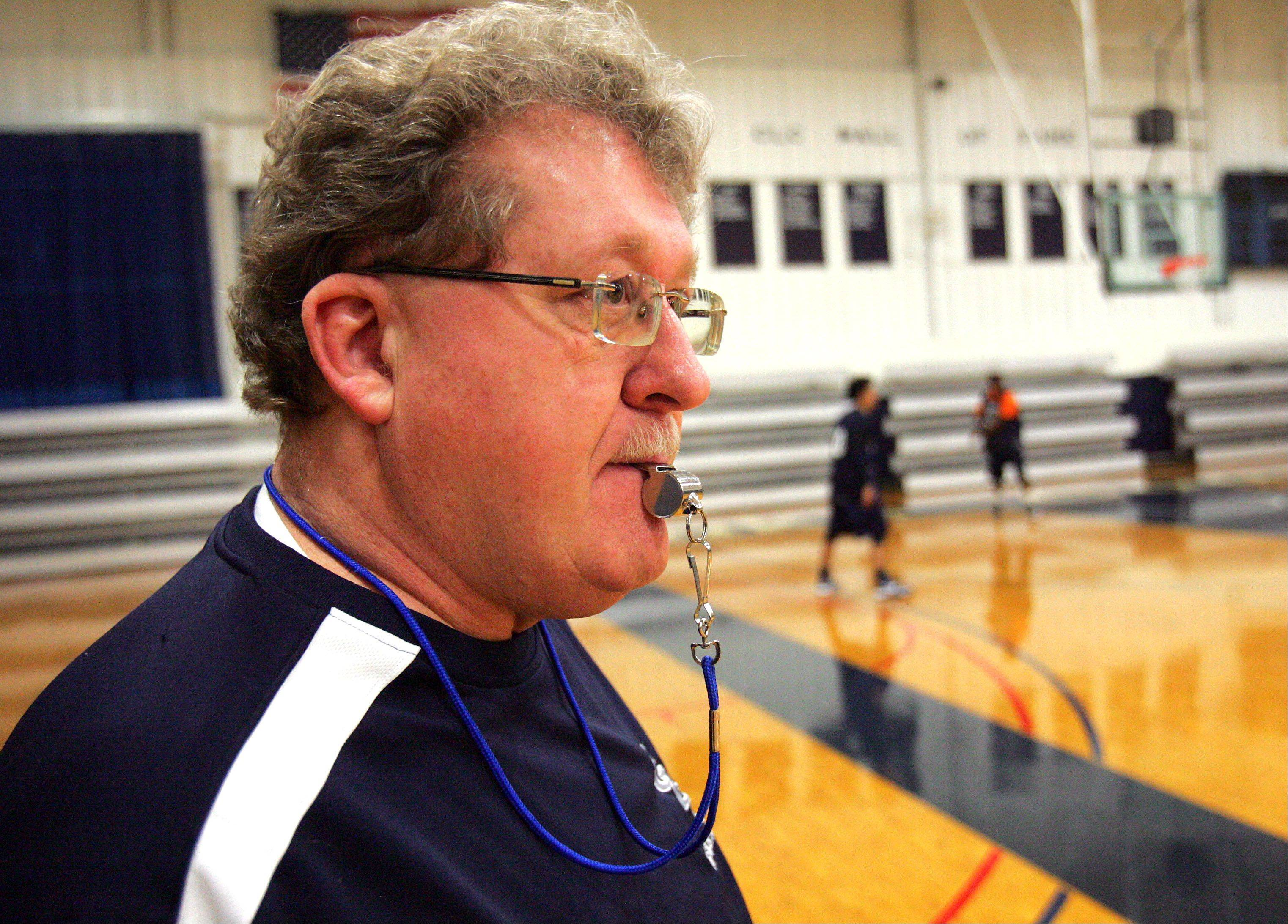 Former Warren coach Chuck Ramsey runs practice Wednesday at College of Lake County, where he�s now leading the men�s program.