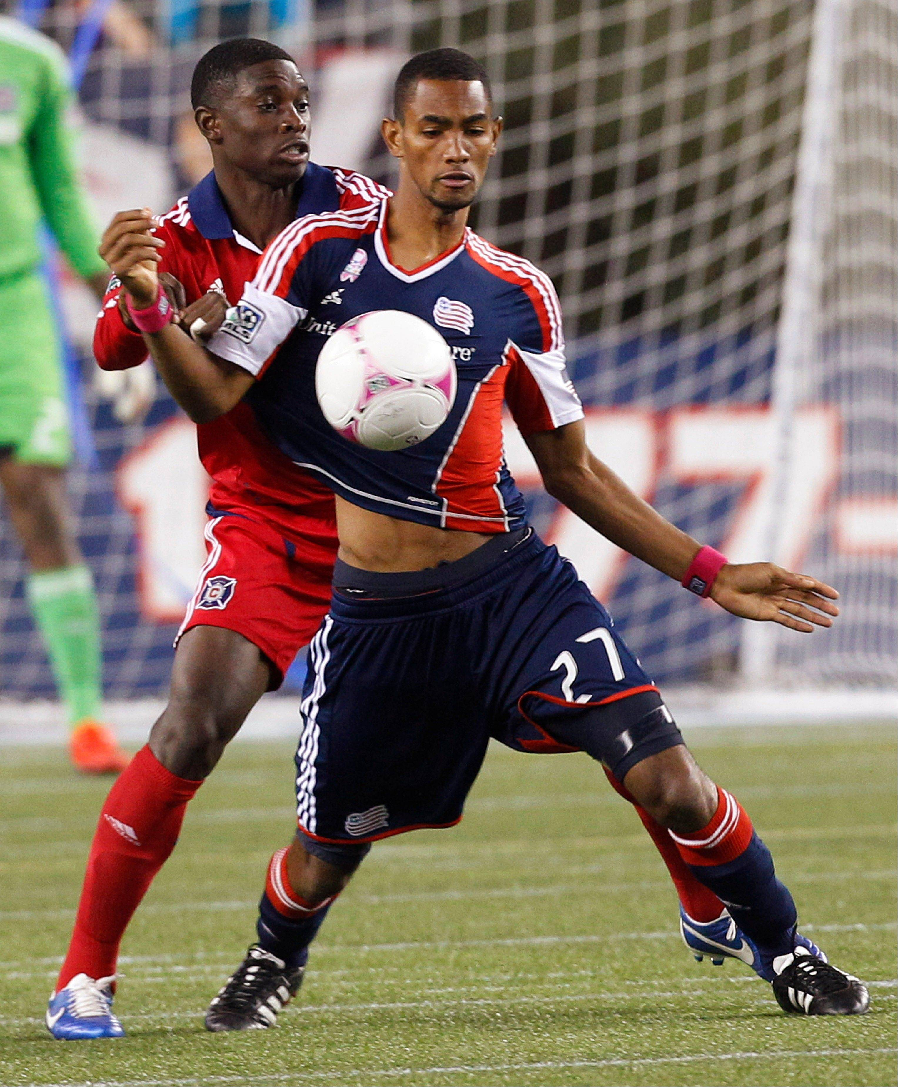 Jalil Anibaba (6) is competing for the starting right back spot in preseason training with the Chicago Fire. (AP Photo/Stephan Savoia)