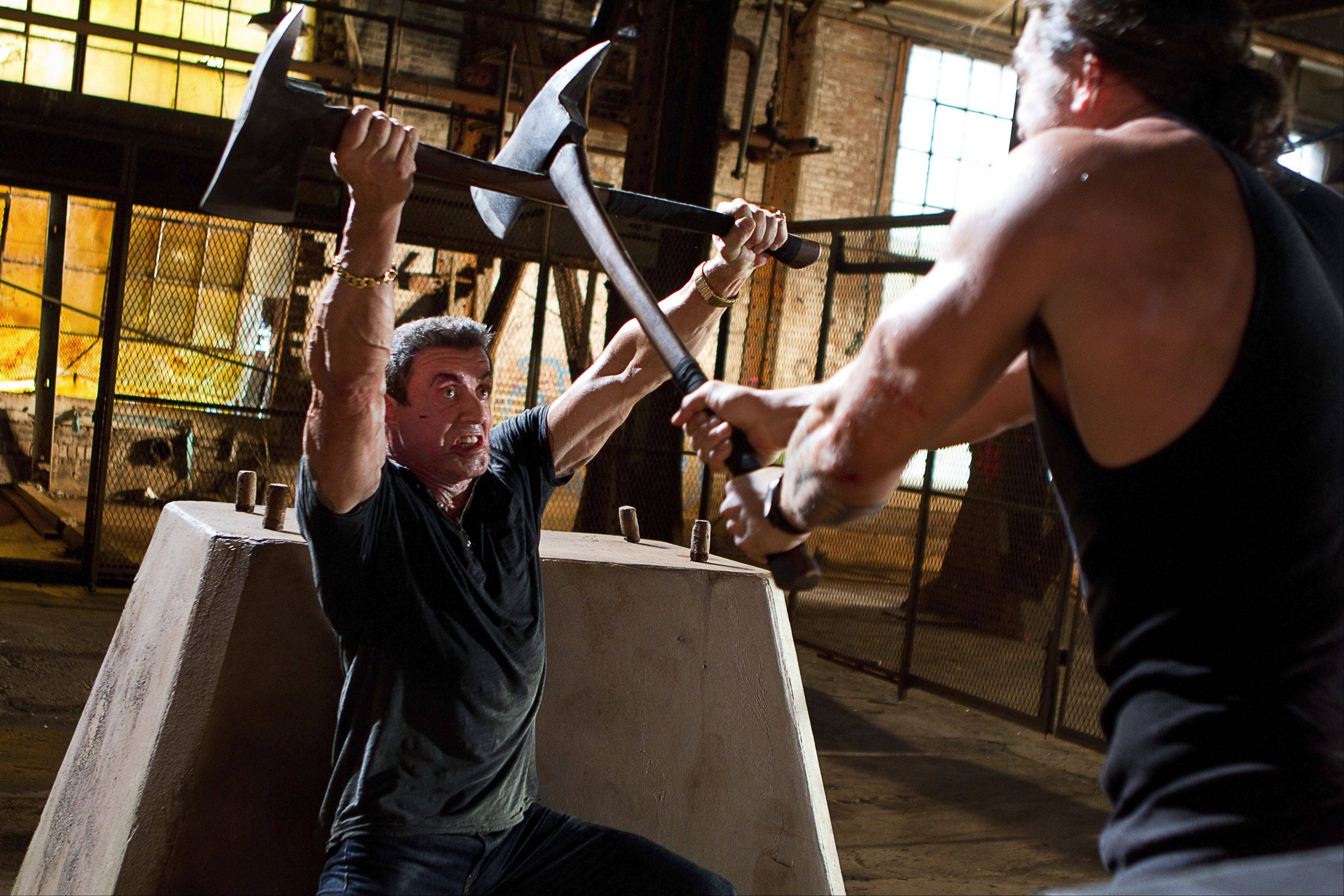 "A buff Sylvester Stallone plays a professional hit man with an ax to grind in Walter Hill's arrested action film ""A Bullet to the Head."""