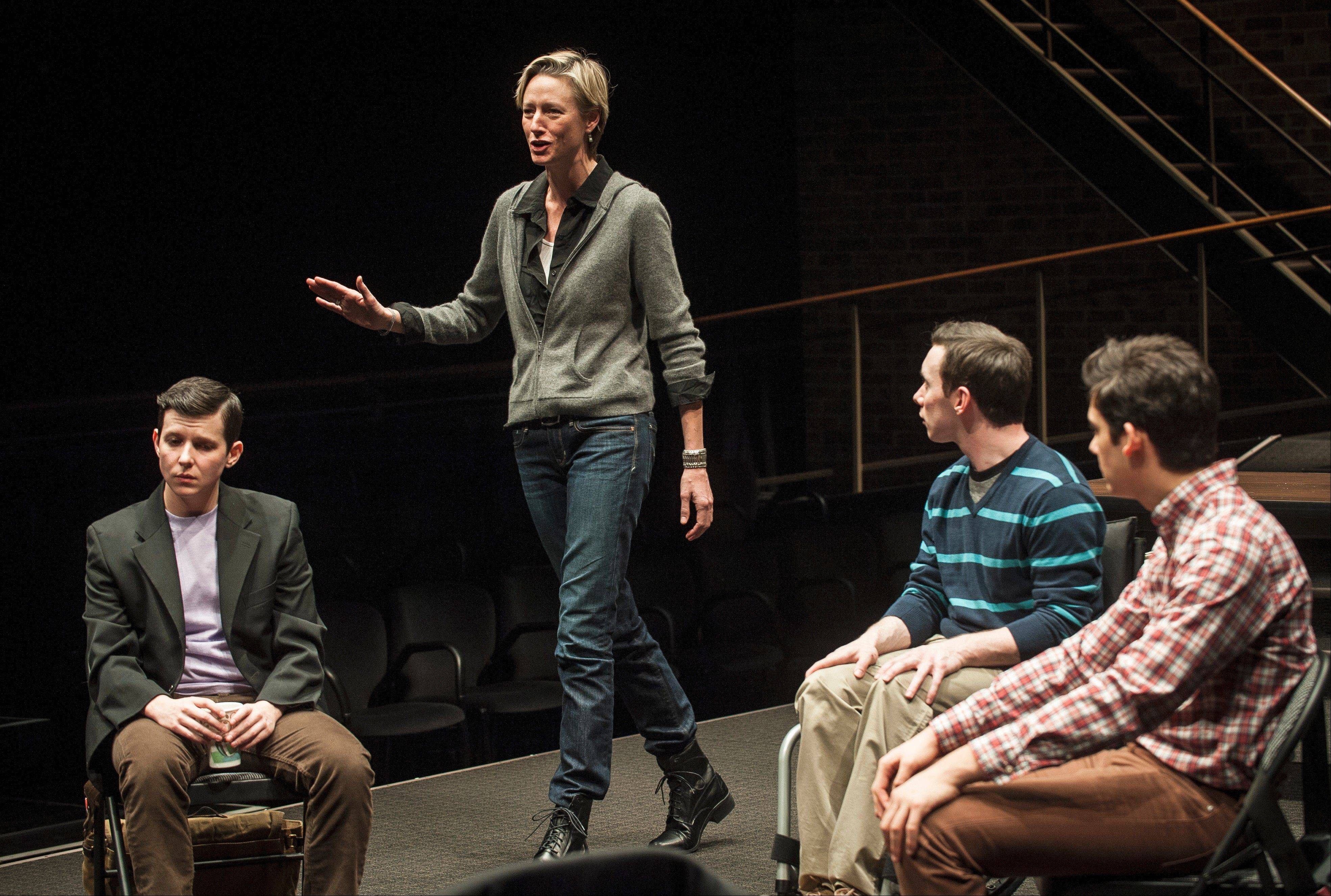 "A diversity panel consisting of transgender student Jaq (Jax Jackson), faculty member Ellen (Kelli Simpkins) and gay students Jay and Gabe (Christopher Imbrosciano and Liam Benzvi) discuss the suicide of the title character in ""Teddy Ferrara,"" a world premiere drama by Christopher Shinn at the Goodman Theatre in Chicago."