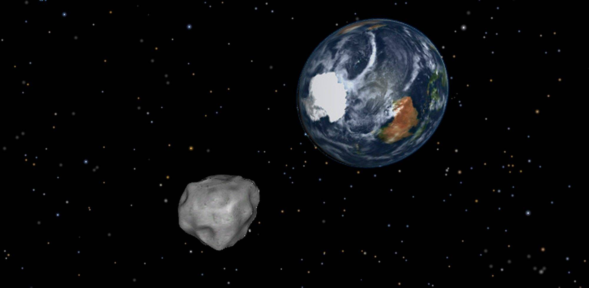 This image provided by NASA/JPL-Caltech shows a simulation of asteroid 2012 DA14 approaching from the south as it passes through the Earth-moon system Friday, Feb. 15, 2013. The 150-foot object will pass within 17,000 miles of the Earth. NASA scientists insist there is absolutely no chance of a collision as it passes.