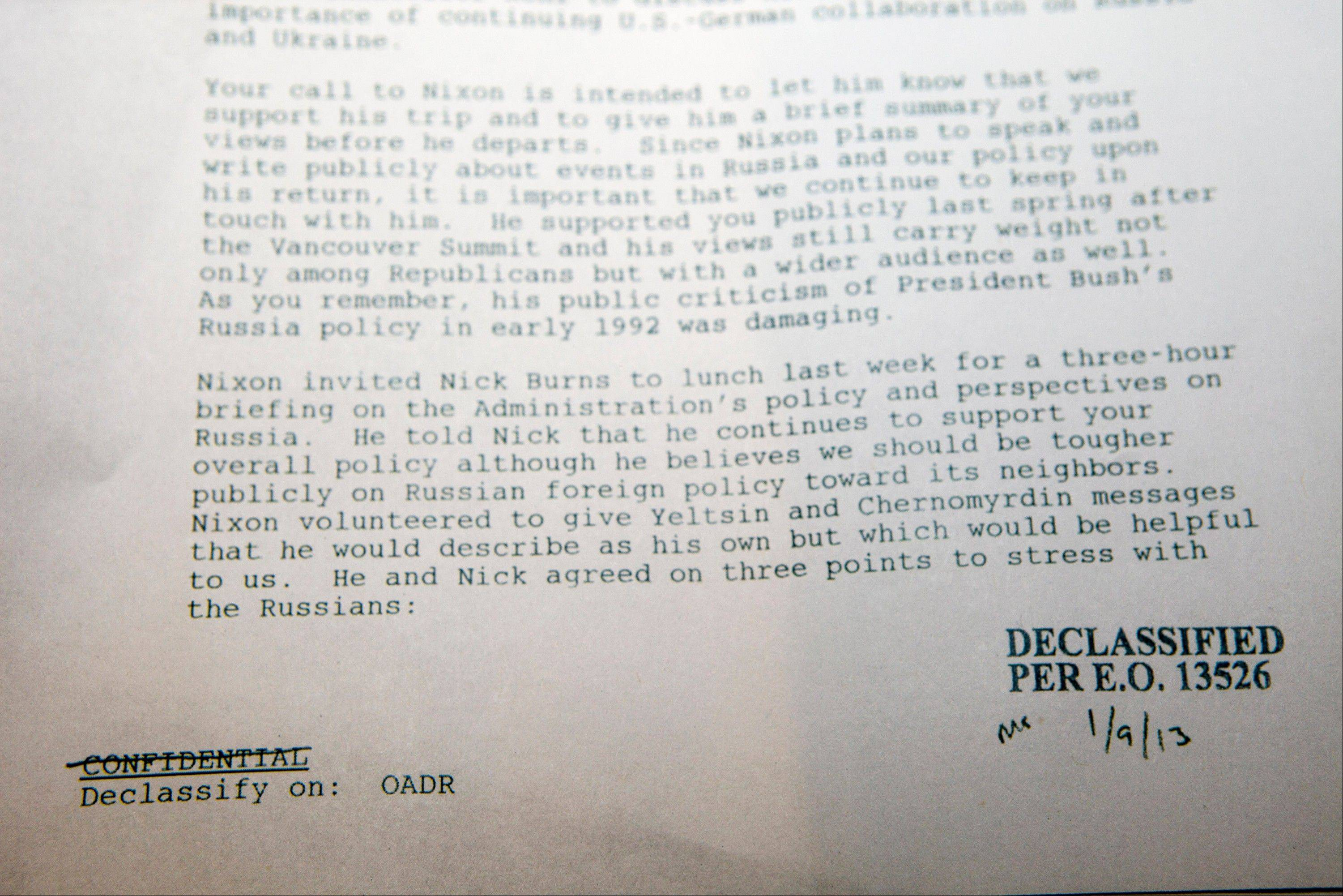 A confidential National Security Council memo from a senior President Bill Clinton aide who spent three hours with former President Richard Nixon, shortly before the former president would make his 10th, and final, trip to Russia that year is shown at the Richard Nixon Presidential Library and Museum in Yorba Linda, Calif. In the final months of his life, Nixon quietly advised President Bill Clinton on navigating the post-Cold War world.