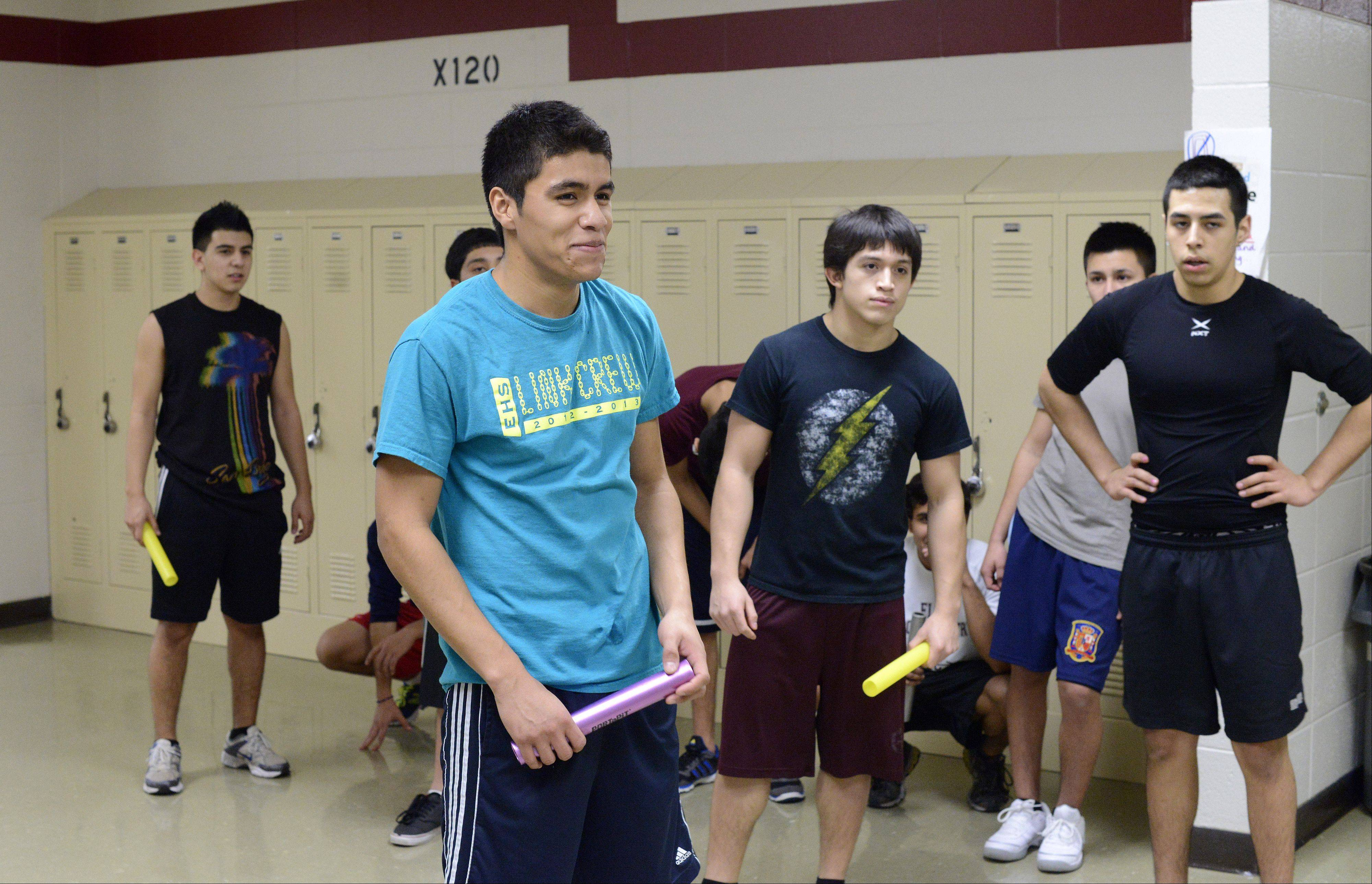 Eduardo Perez, a Elgin High School senior, and other members of the Elgin High School track team are practicing indoors for their upcoming season. Eduardo, who recently accepted a four-year scholarship to Stanford University, also is on Elgin High's soccer and swim teams.