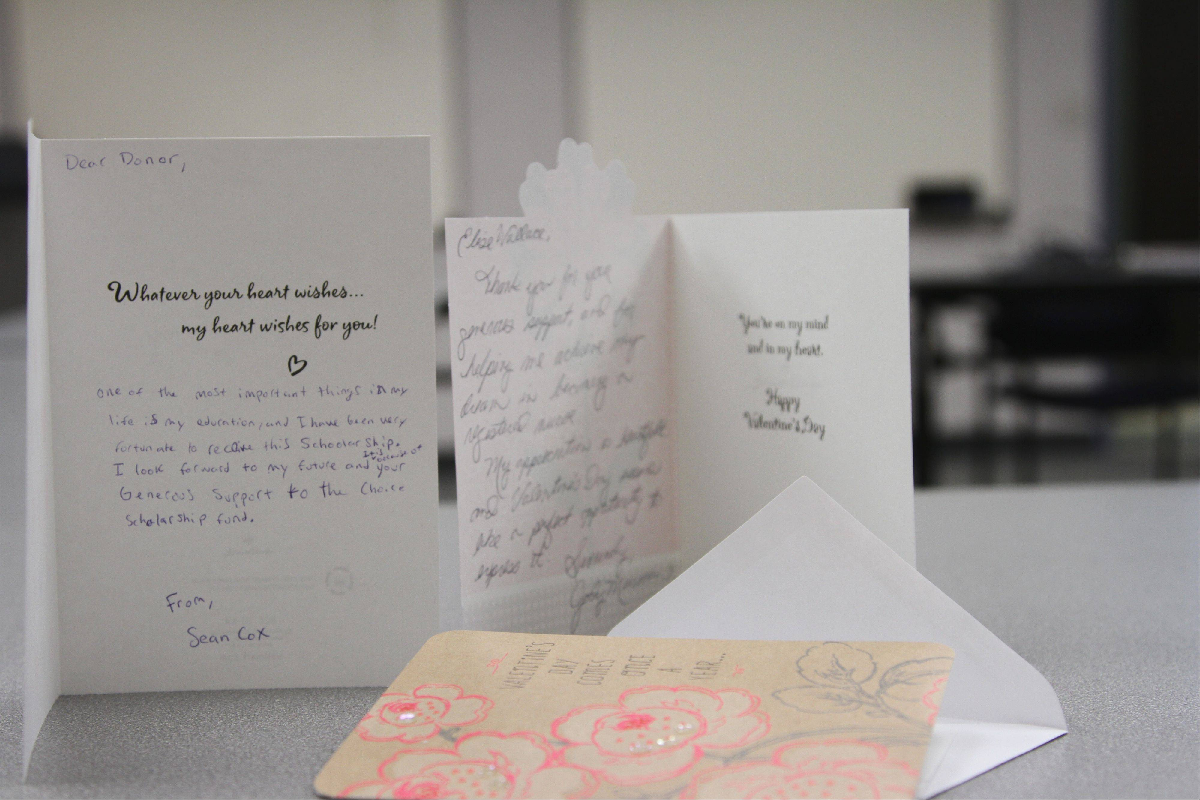 Valentines written by Harper scholarship recipients to donors in honor of Valentine's Day.