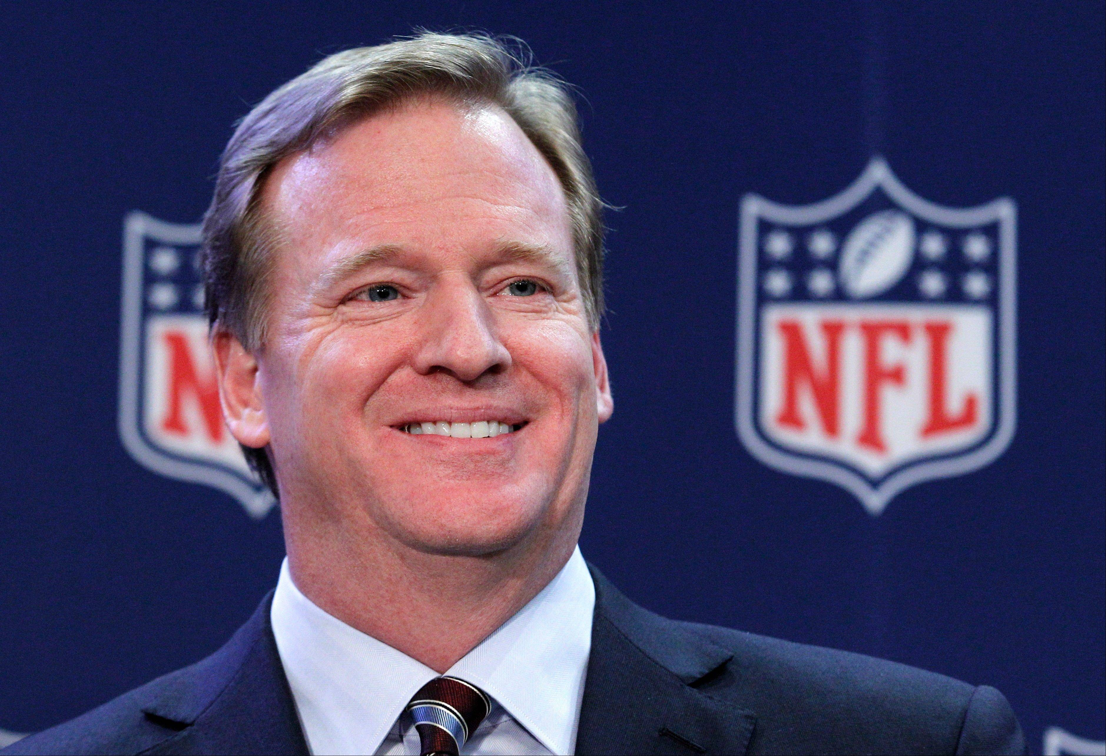 Associated Press/Dec. 12, 2012 NFL Commissioner Roger Goodell smiles during a news conference after the NFL owners meeting in Irving, Texas. Goodell was paid $29.49 million by NFL owners in 2011, nearly triple his compensation from the previous year. Goodell earned $11.6 million in 2010.