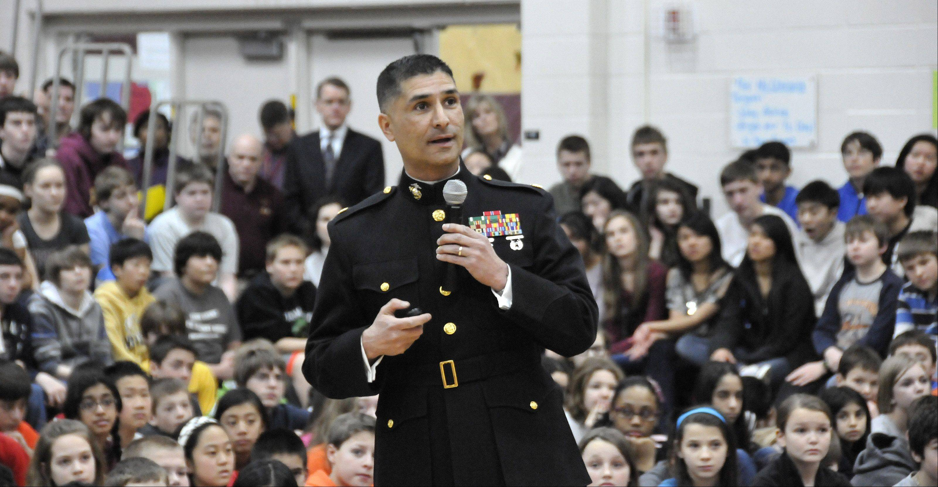 Marine Maj. Guillermo Rosales has served two tours of duty in Iraq and was awarded the Bronze Star for bravery. He�s stationed in Chicago now and lives in Wheeling.