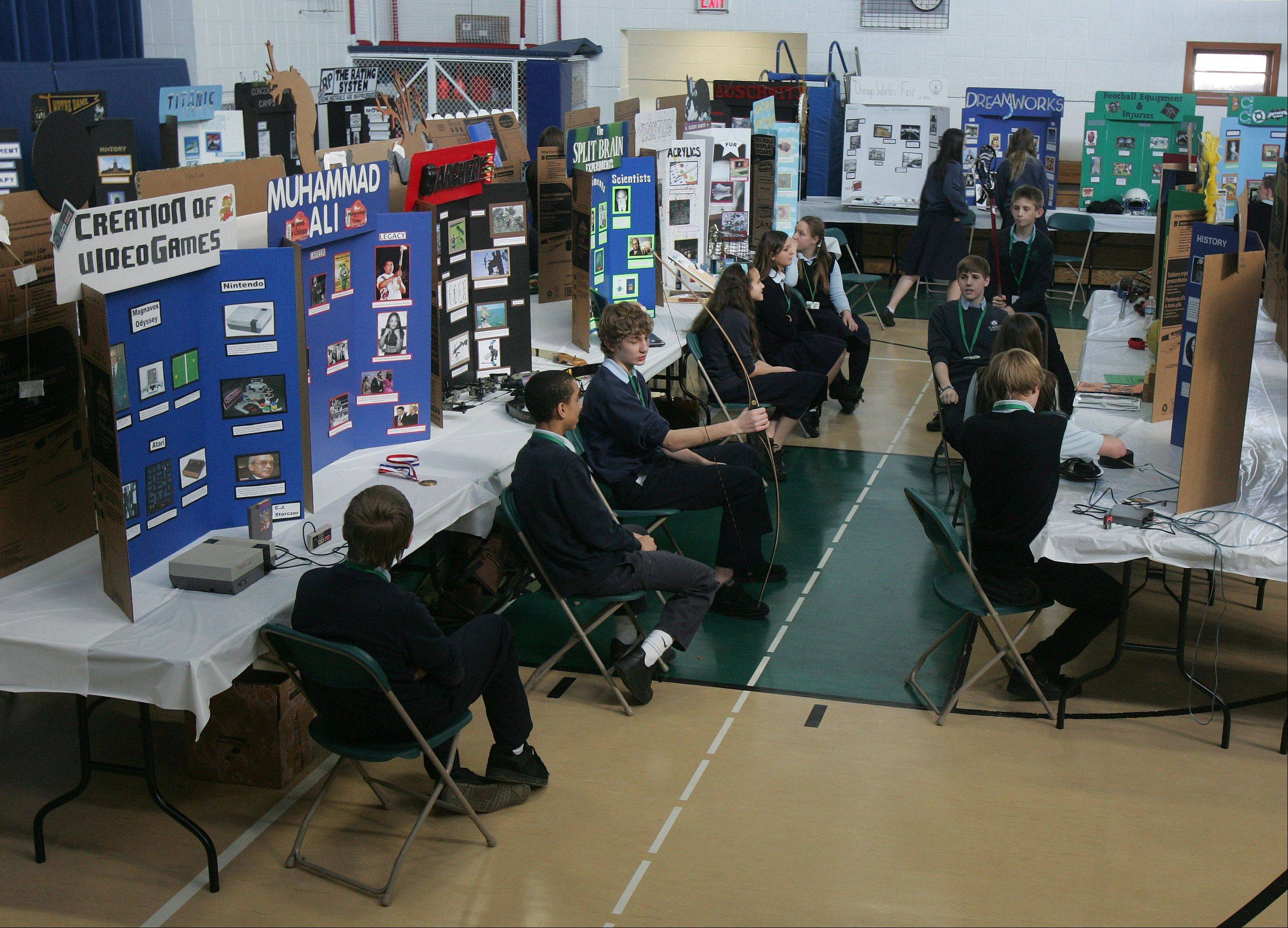 The Academic Fair at St. Patrick Catholic School in Wadsworth. Eighth-grade students present projects on topics ranging from robotics, to Walt Disney World, to the Salem witch hunts.