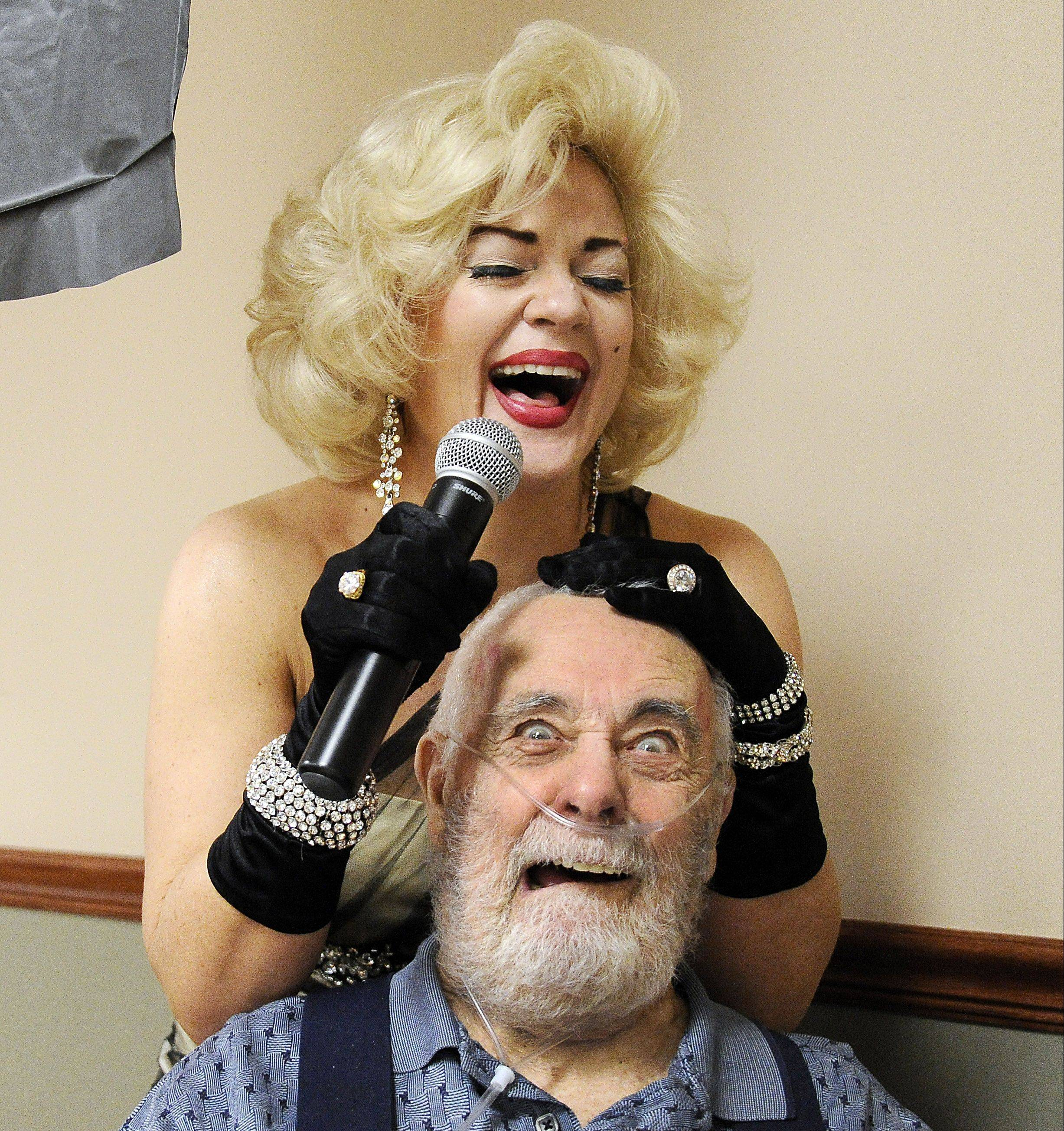 Winkelmann has a ball acting as Marilyn Monroe and flirting with the older gentlemen in her audience, like Douglas Dean of Prospect Heights. Sheri performed at the Claremont Rehabilitation and Living Center in Buffalo Grove during their Happy Hours Friday party.
