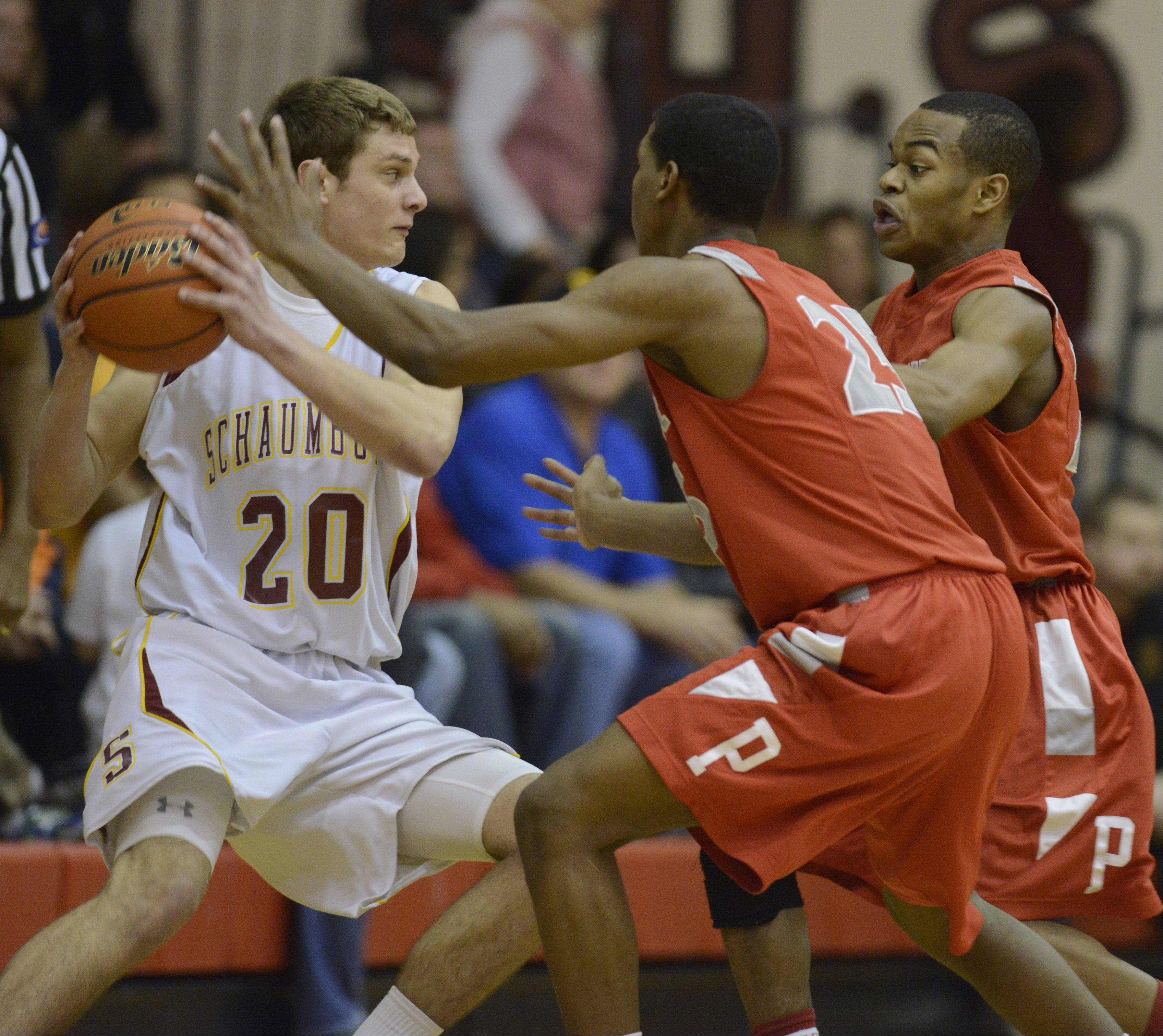 Images from the Palatine vs. Schaumburg boys MSL West championship basketball game on Friday, February 15th, in Schaumburg.