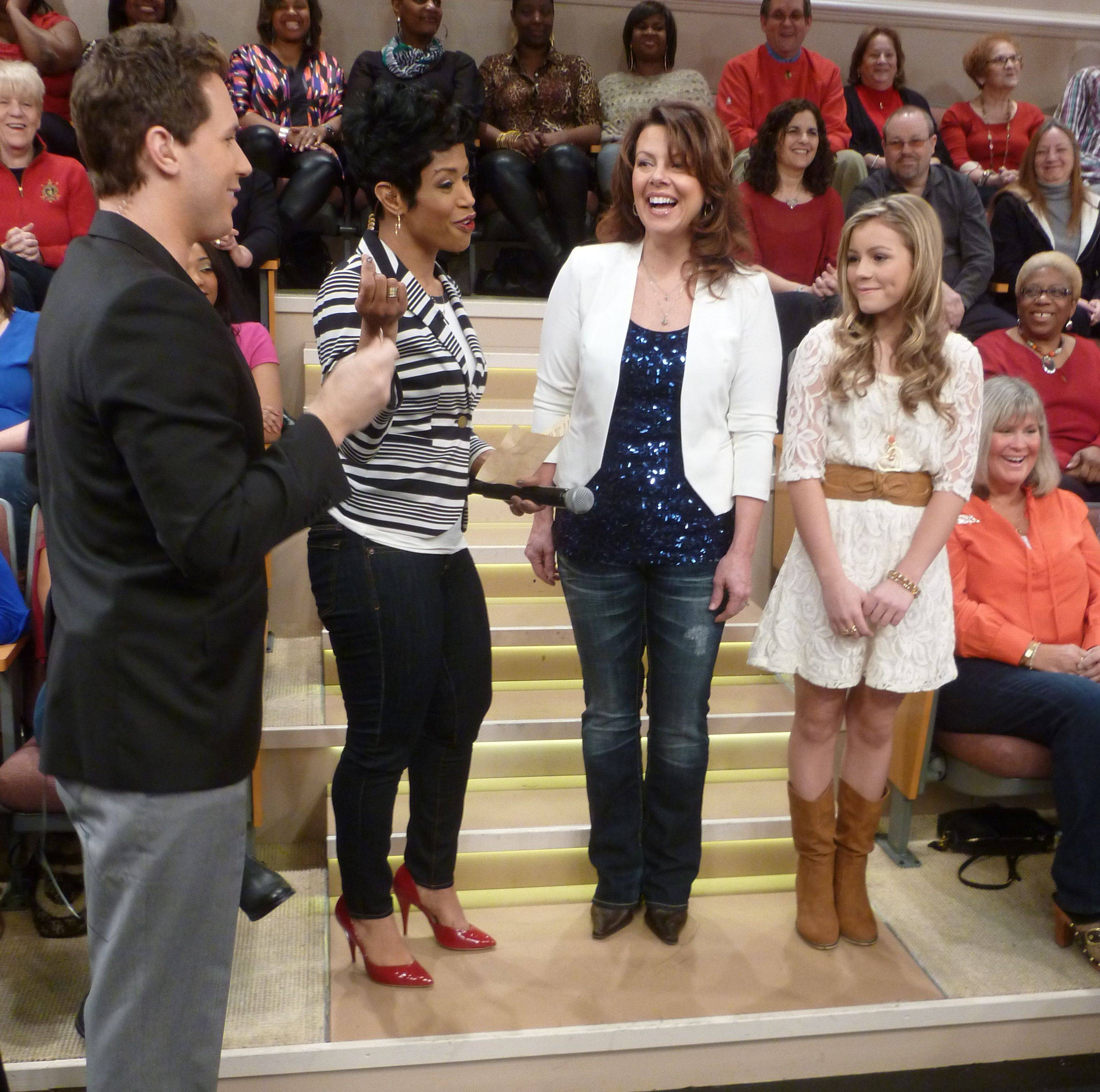 "Taylor Matos, 14, competes against Suzi Carpenter on ""Windy City Live"" as part of the TV show's Search For A Star Competition. The Elk Grove High School student will learn this morning whether she's one of three finalists in the competition."
