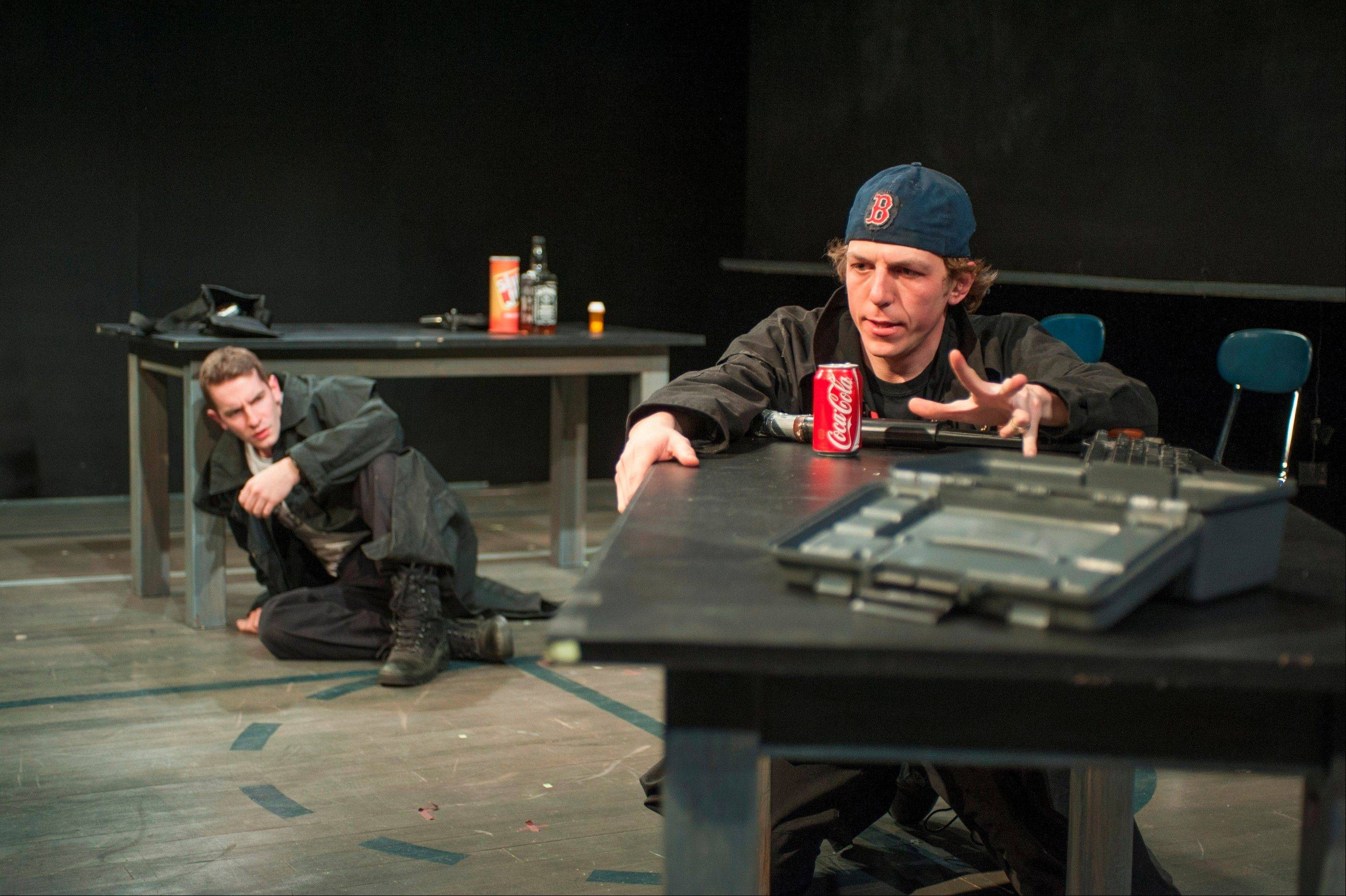 "Photo by Michael BrosilowTwo bullied teens (Eric Folks, right, and Matthew Bausone) descend into murderous rage in American Theater Company's ""columbinus."""
