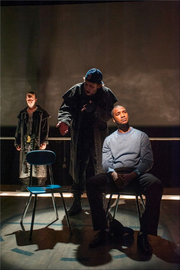 "Photo by Michael BrosilowJerod Haynes, right, plays a victim of Columbine High School killers (Eric Folks, center, and Matthew Bausone, left) in the world premiere of the newly revised ""columbinus."""