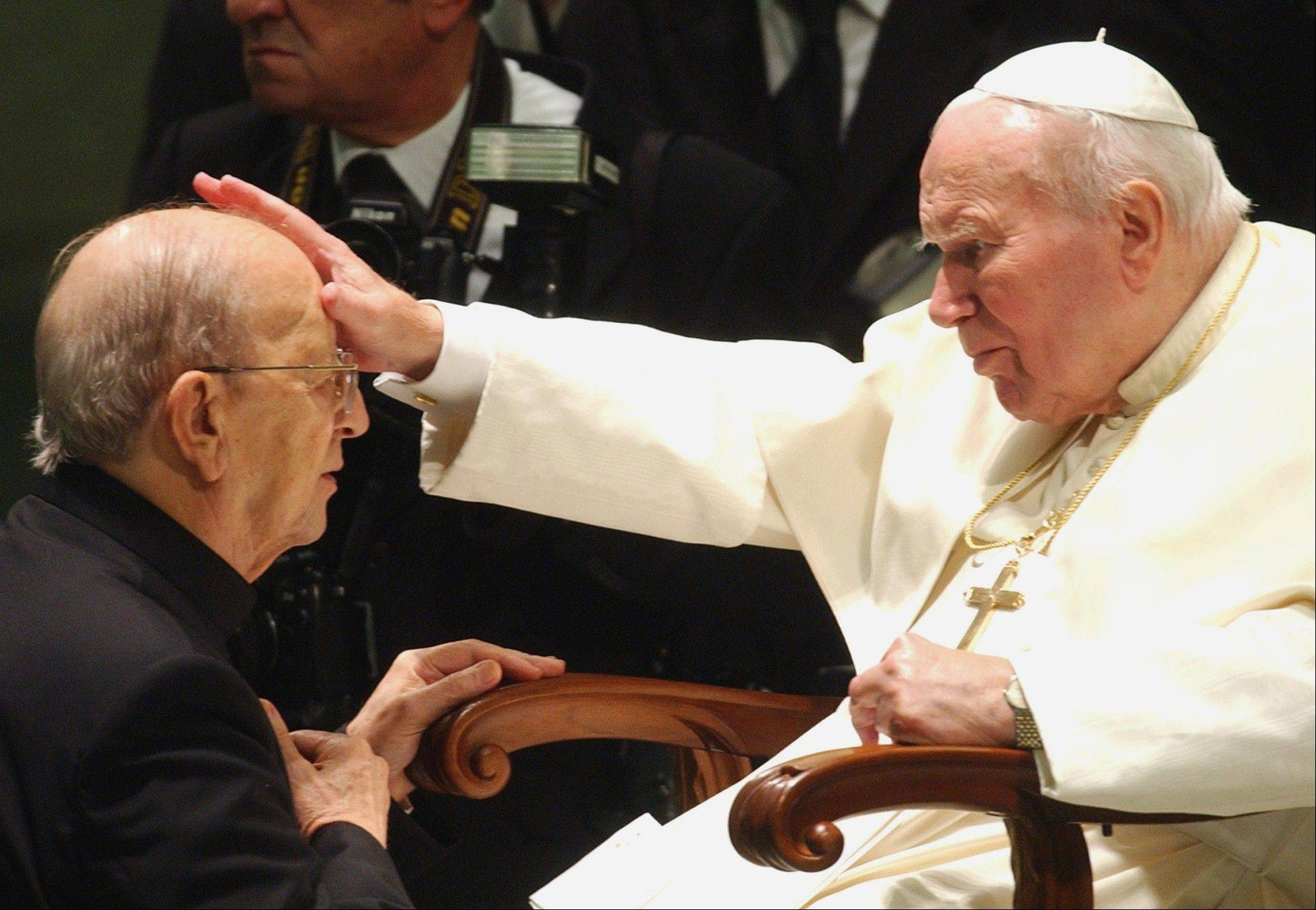 Pope John Paul II gives his blessing to father Marcial Maciel, founder of the Legion of Christ, during a special audience at the Vatican.