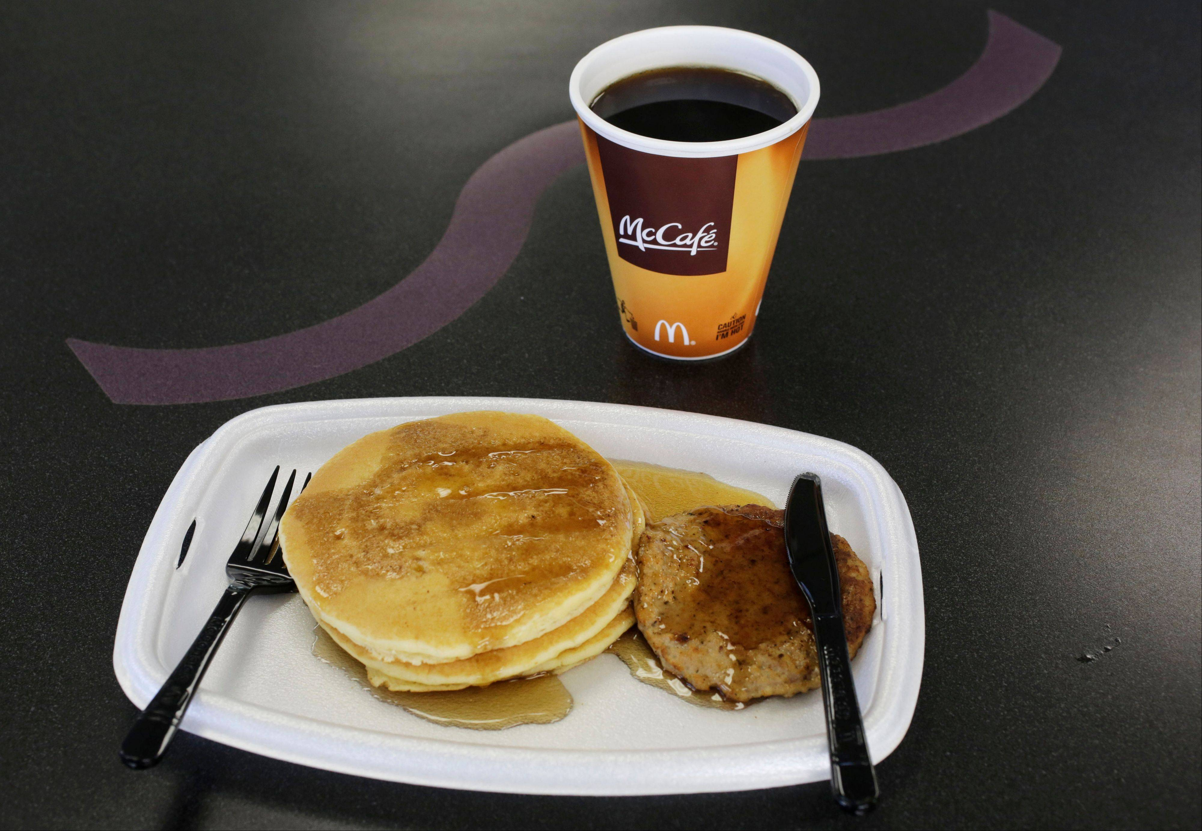 A McDonald's breakfast Thursday at a restaurant in New York. The pancakes and sausage are served on a foam tray and coffee is served in a foam cup.