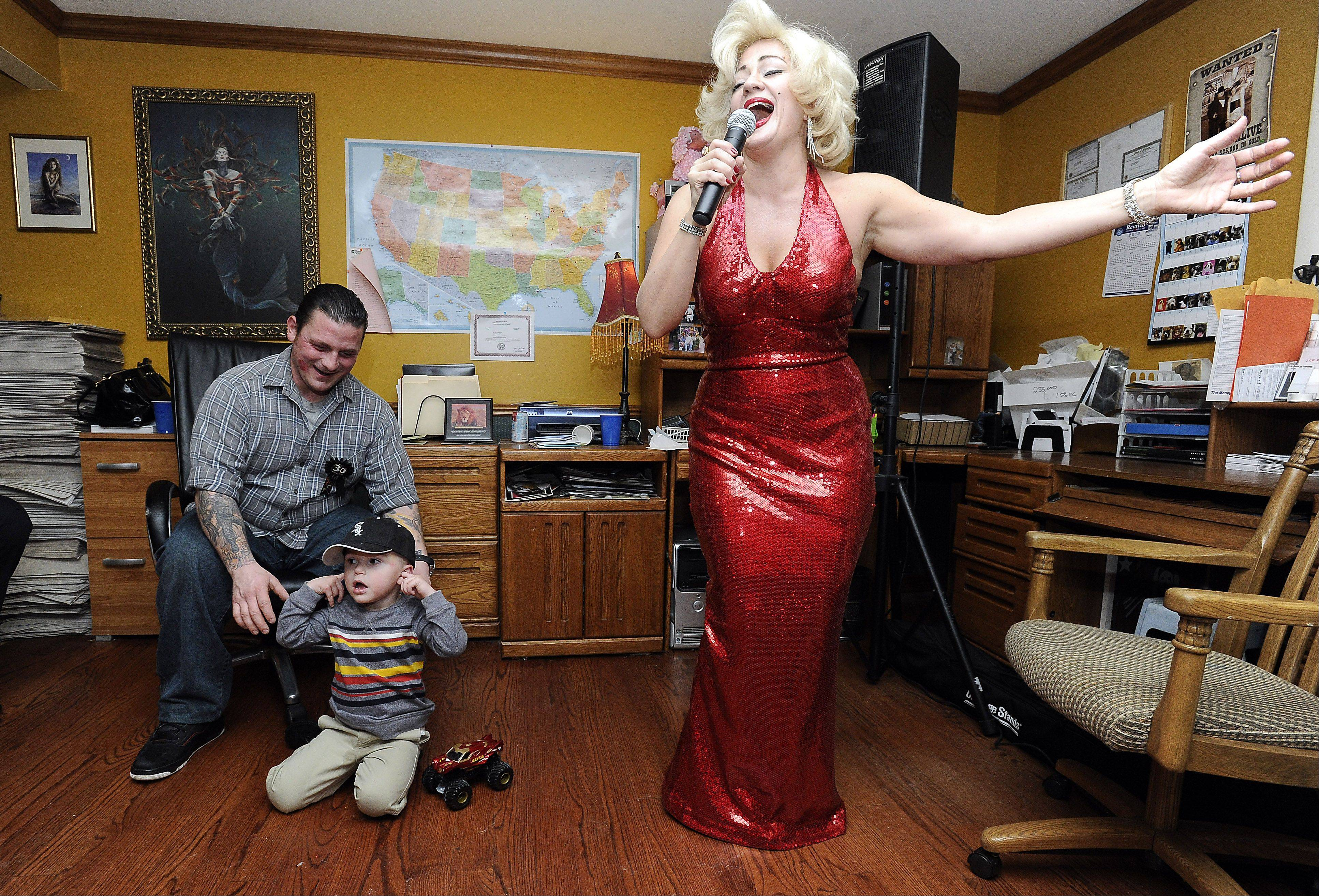 "Sheri Winkelmann dons her Marilyn Monroe outfit to entertain at the birthday party of Jaime Merlo in Winfield. ""(She's) very professional, a class act,"" Merlo said."