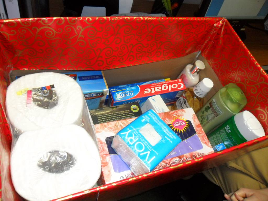 "One of the 121 ""Boxes of Love"" made for needy seniors by Divine Savior Parish"