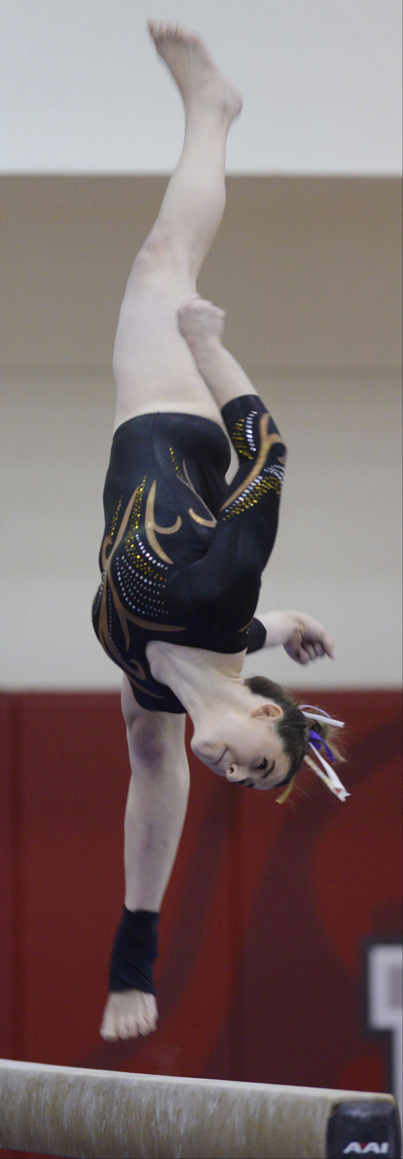 Carmel's Lauren Feely competes on the balance beam during the girls state gymnastics finals at Palatine High School Saturday.
