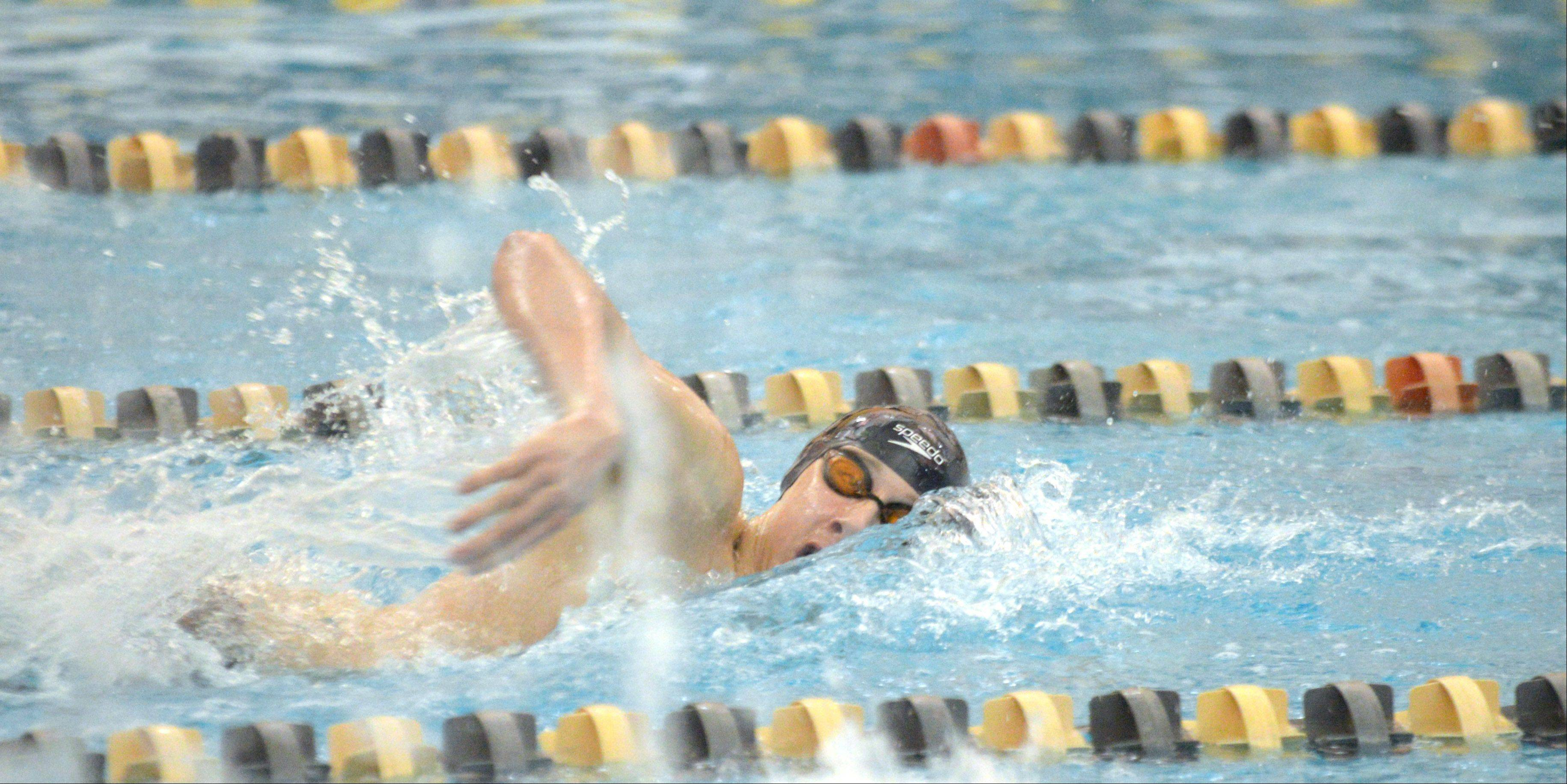 Andrew Kasper of Marmion swims the 200 free at the Neuqua Valley boys swimming sectional in Naperville Saturday.