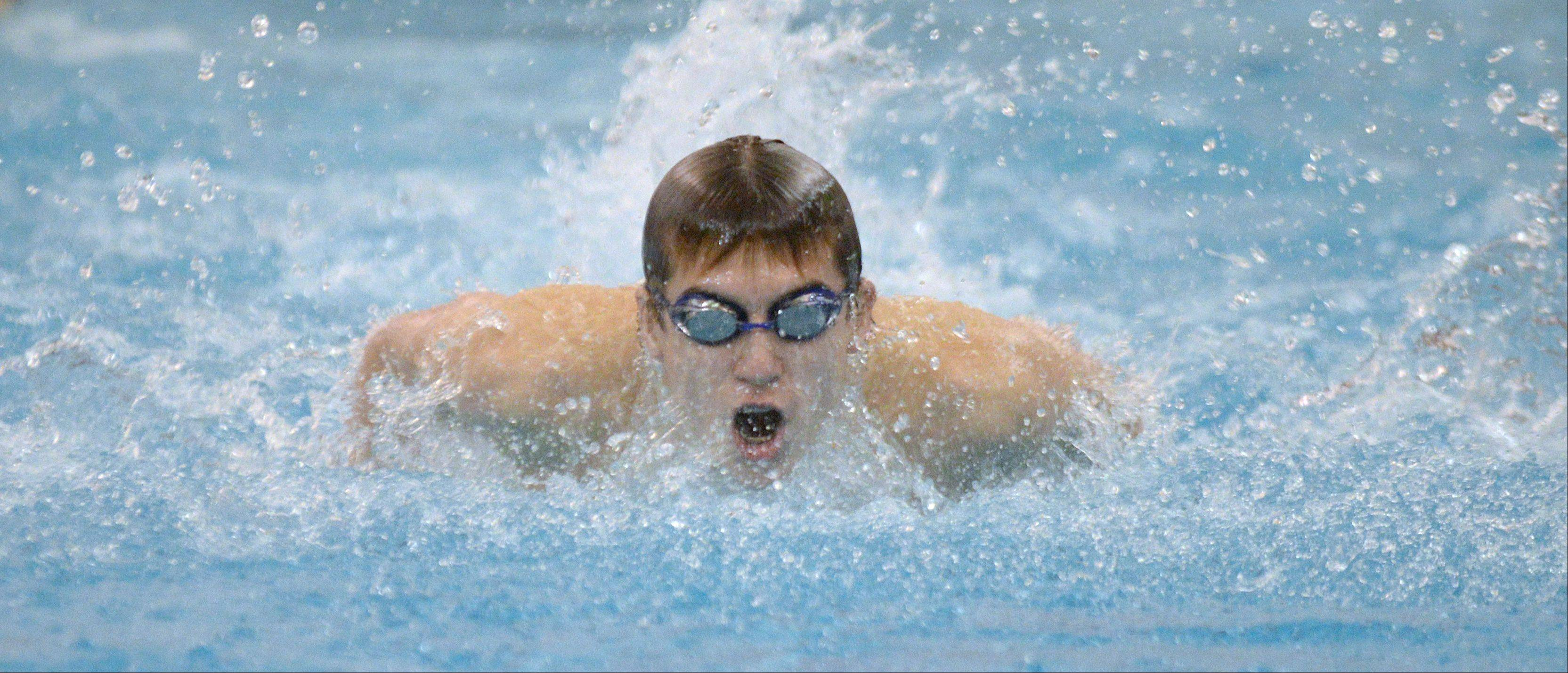 Matt Salerno of Metea Valley swims the 200 IM during the Neuqua Valley boys swimming sectional in Naperville Saturday.