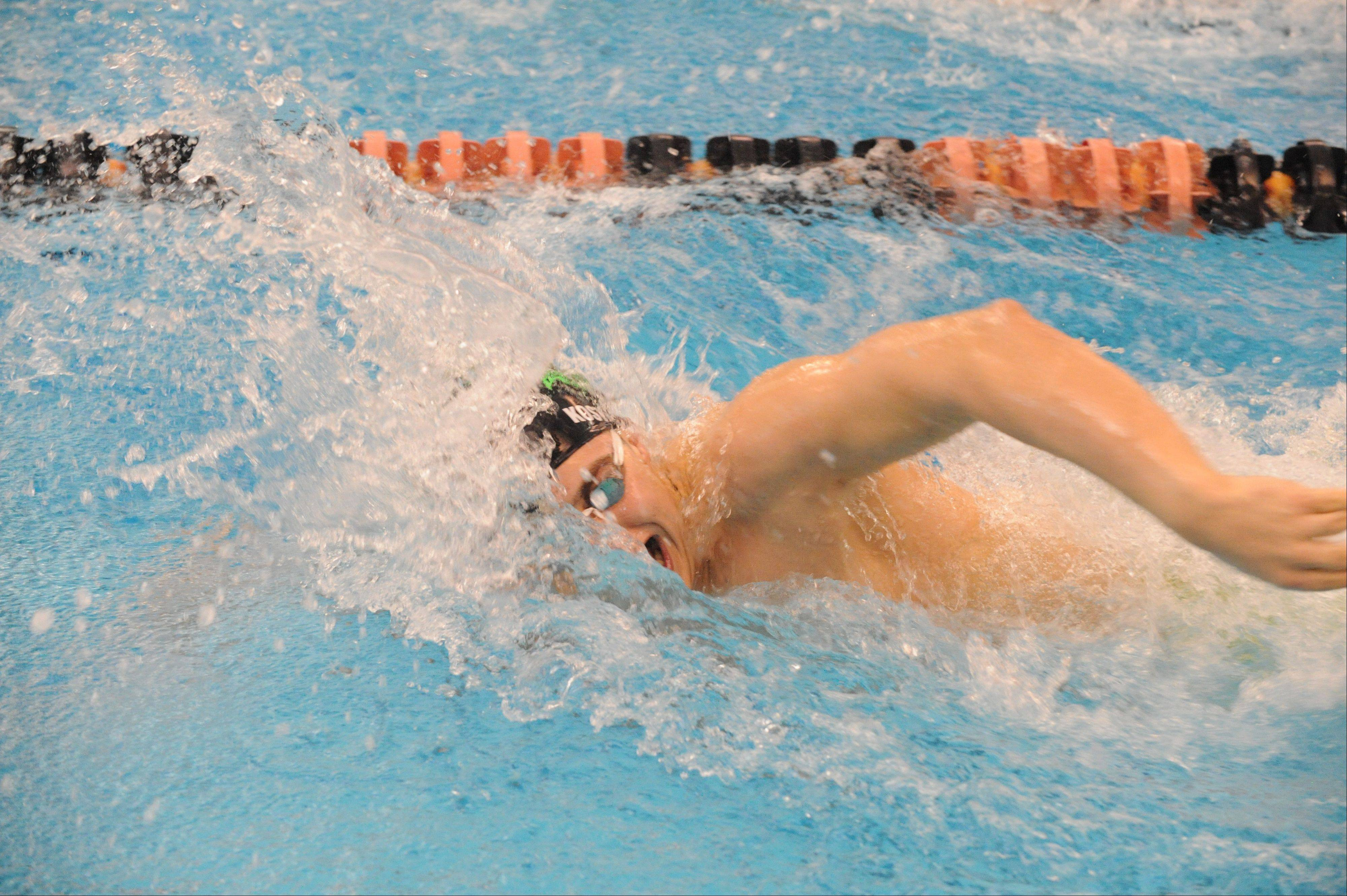 Fremd senior Dennis Kostidis is headed for a state-qualifying time in the 200 freestyle Saturday at Barrington.
