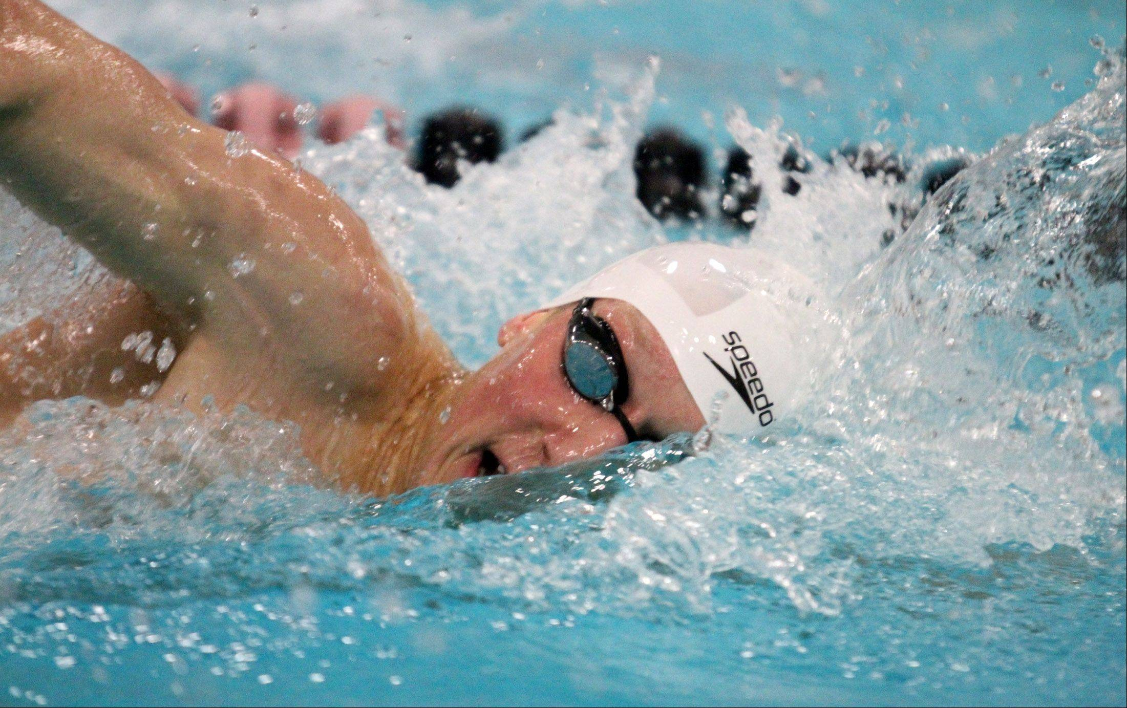 South Elgin's Nicholas Hasemann wins the 200-yard freestyle at the sectional swim meet at St. Charles East on Saturday.
