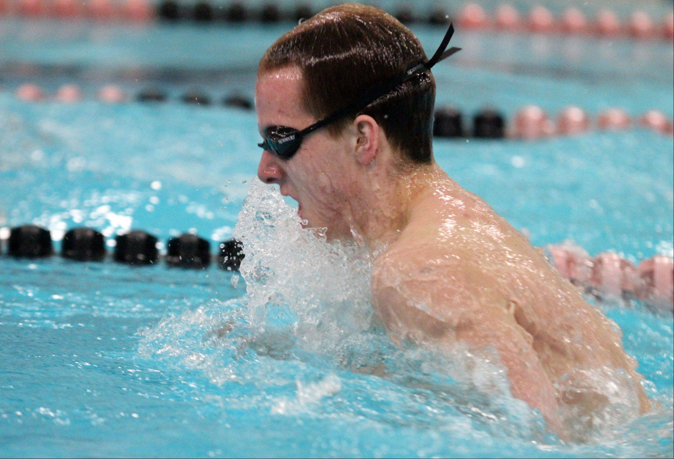 David Chokran swims the breast stoke leg of the 200-yard medley relay for St. Charles North at the sectional swim meet at St. Charles East on Saturday.