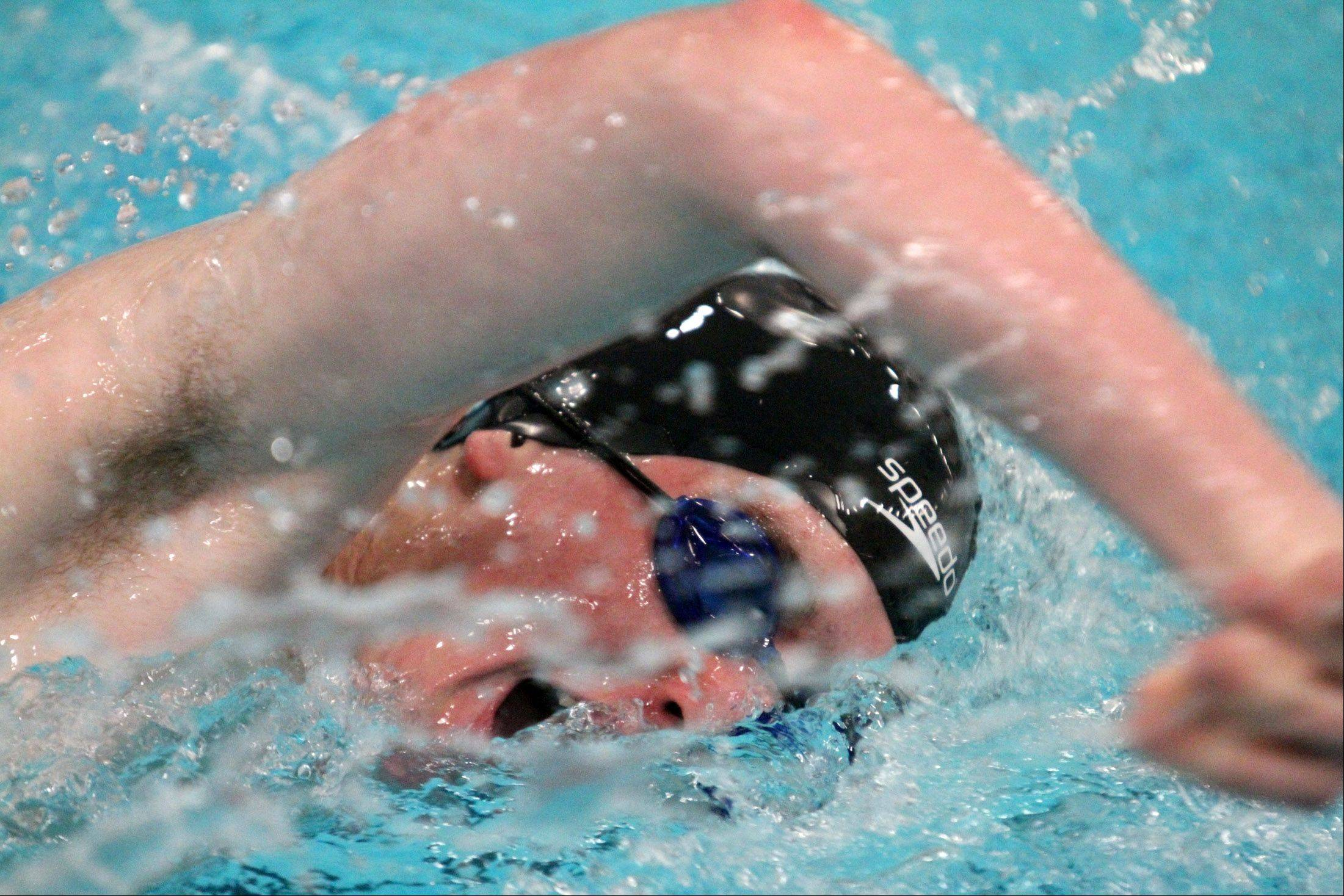 Huntley's Ryan Czarnecki swims the 200-yard freestyle at the sectional swim meet at St. Charles East on Saturday.