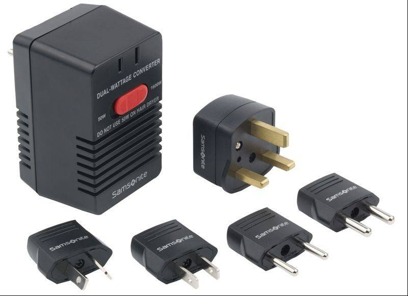 This undated photo provided by the Consumer Product Safety Commission shows the Samsonite Dual-Wattage Travel Converter Kit. Samsonite has recalled the converter kits, used to make standard U.S. and Canadian appliances usable abroad, because they can overheat if a load in excess of 50 watts is applied to the converter while in the 50-watt setting. This poses a fire and burn hazard to consumers.