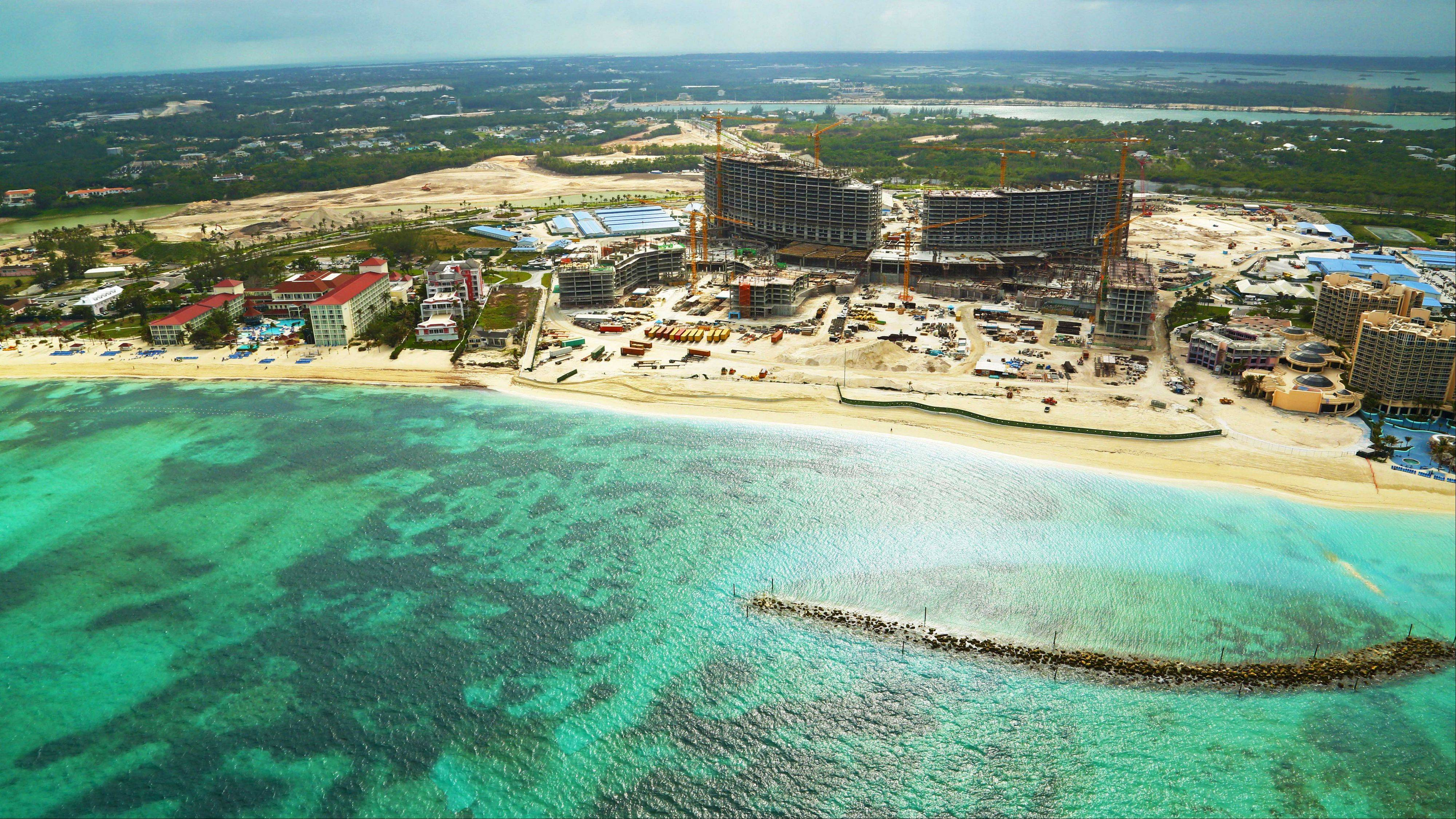 Construction continues on the Baha Mar resort on the beach on New Providence island, Bahamas. For commercial projects such as the Bahamas resort, China is filling a gap left by western investors and bankers retrenching after the 2008 financial crisis.